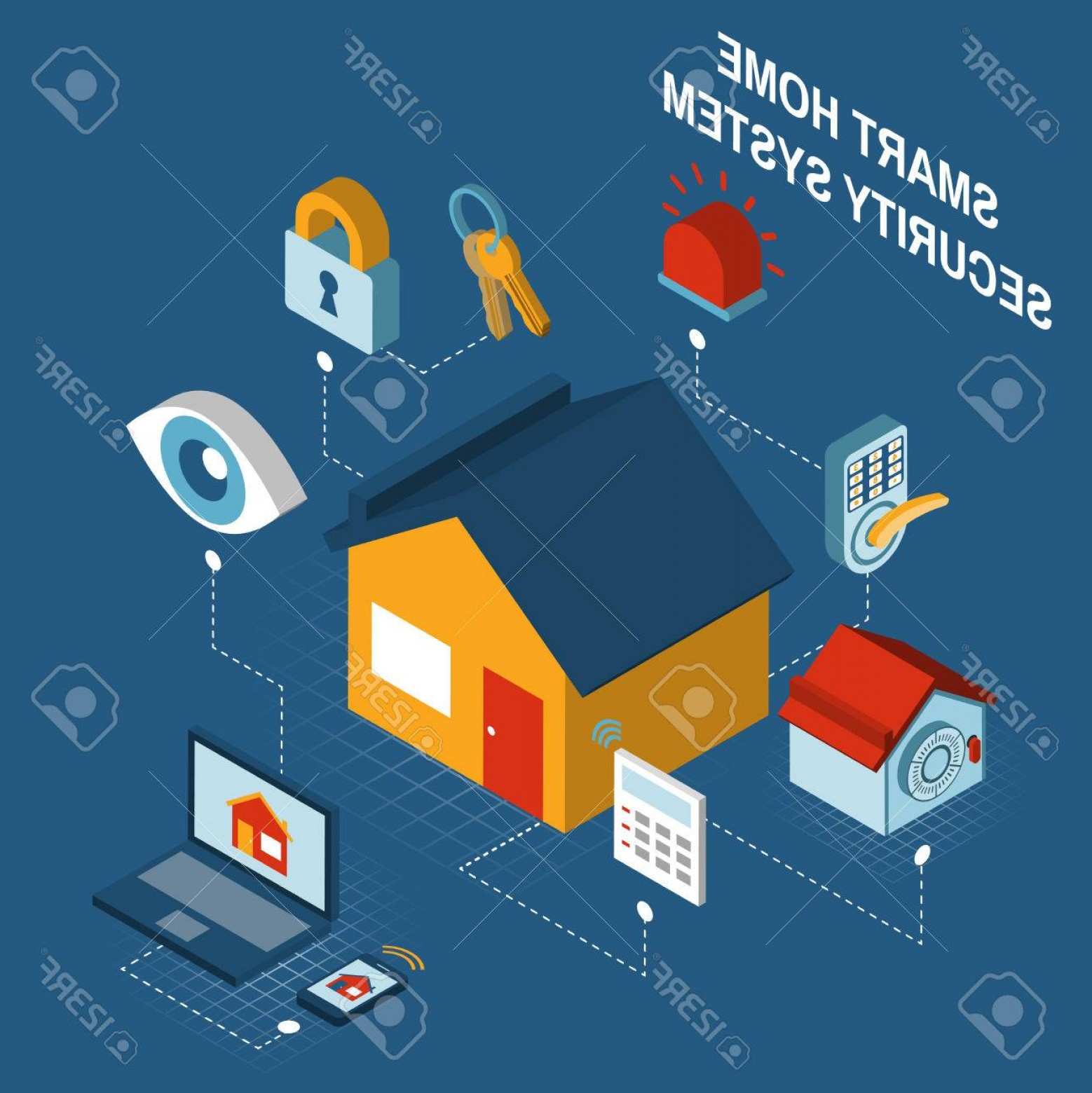 Smart Home Remote Vector: Photostock Vector Smart Home Security Alarm Computerized Remote Control System Concept Poster With House Symbol Isomet