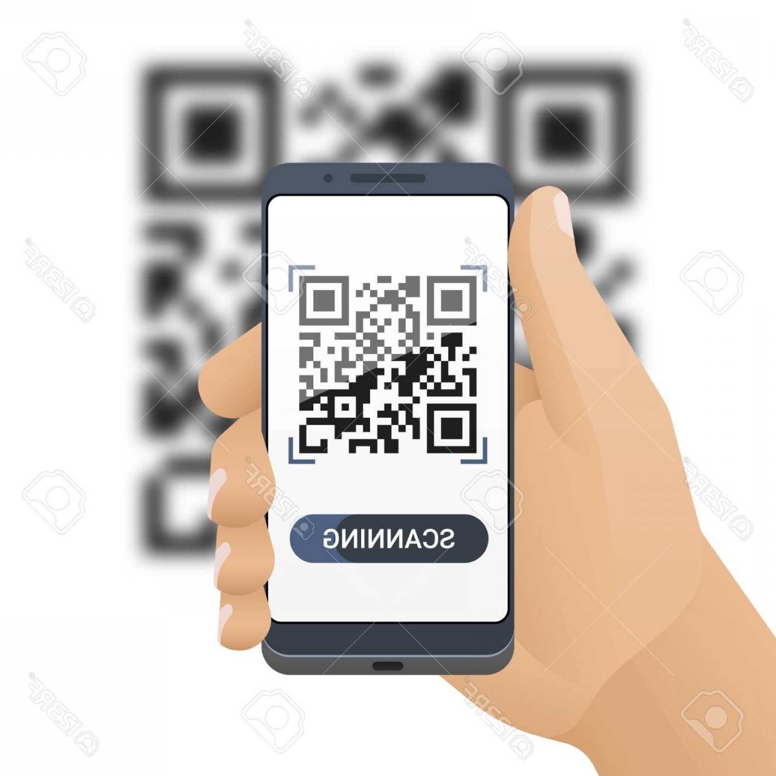 QR Mobile Phone Vector: Photostock Vector Smartphone In Man S Hand Scans Qr Code Barcode Scanner Application On Smart Phone Screen And Blurred