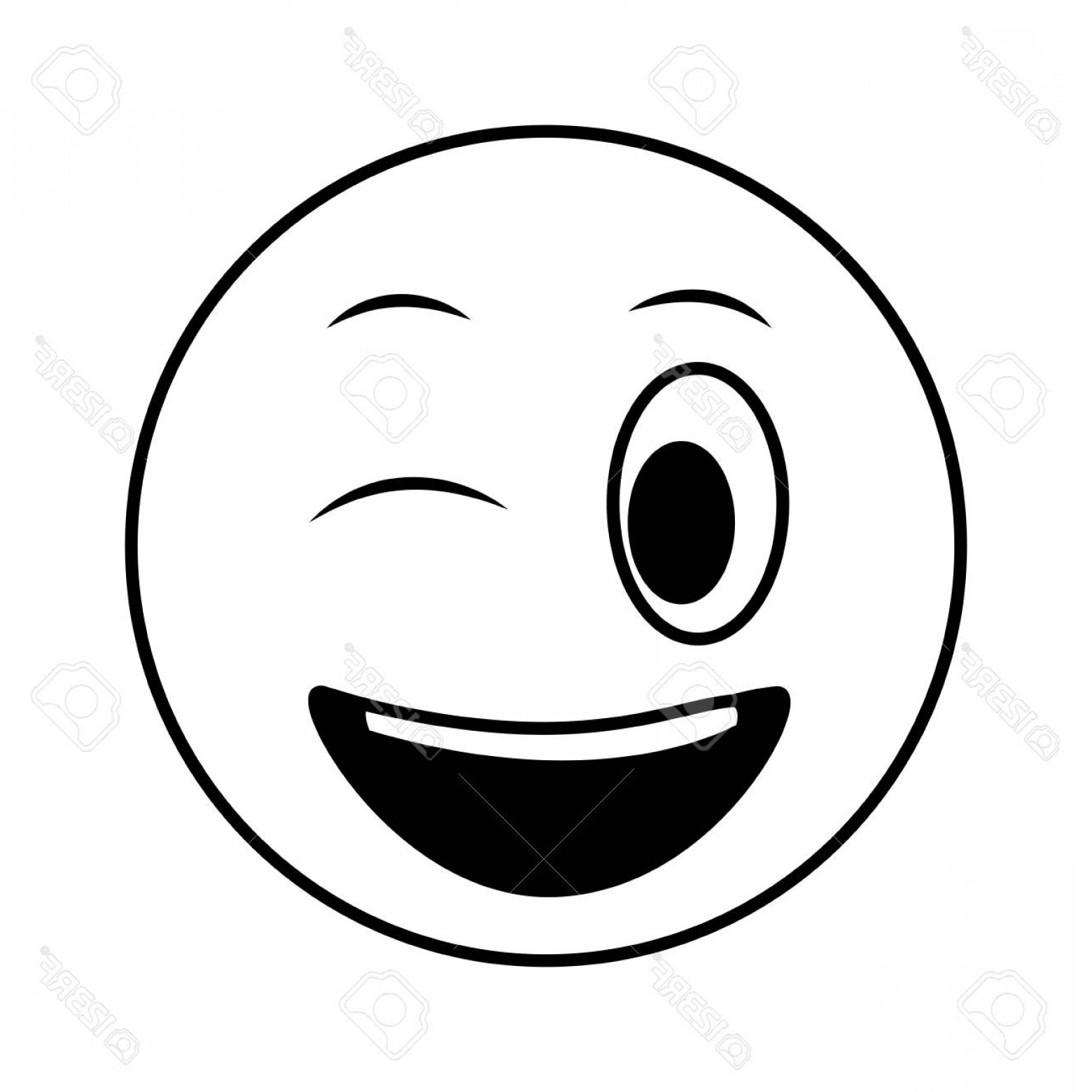 Smiley-Face Winking Vector: Photostock Vector Smiley Big Emoticon Winking Face Vector Illustration Black And White
