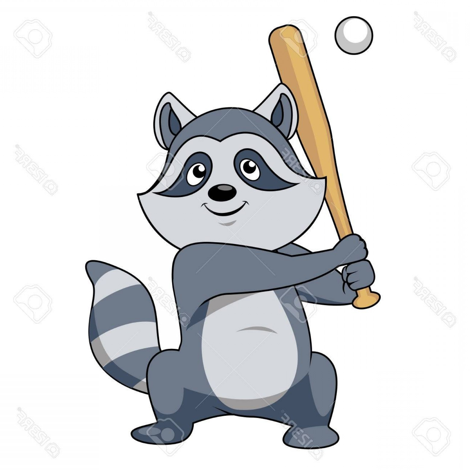 Baseball Tails Vector Clip Arts: Photostock Vector Smiling Gray Cartoon Raccoon Baseball Player Character Standing With Bat Ready To Hit A Pitch Ball F