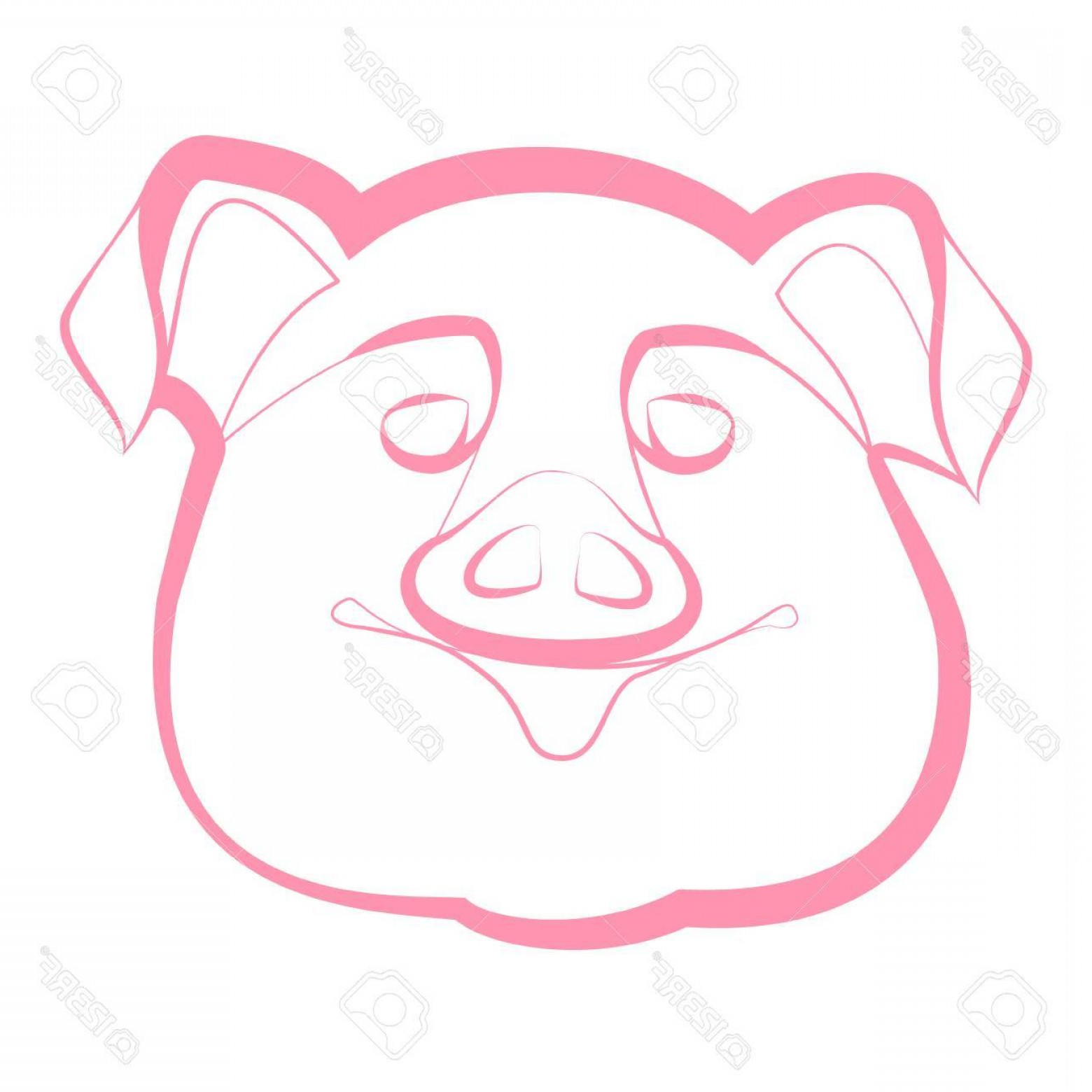 Vector Pig Nose: Photostock Vector Smiling Pig Snout On A White Background