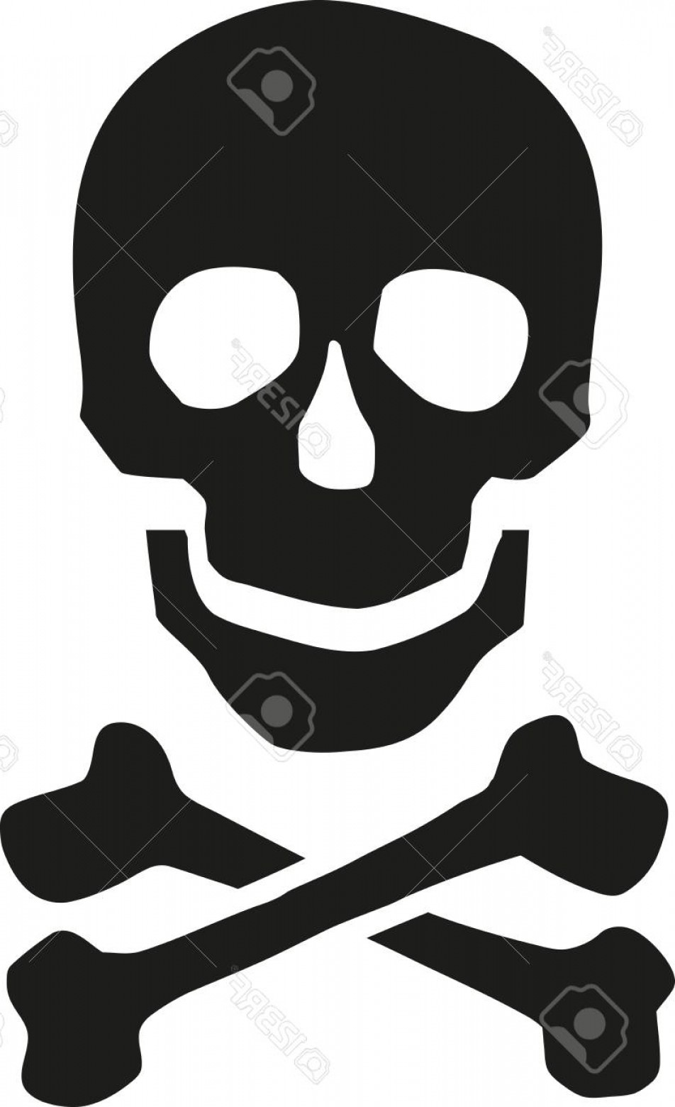 Skull ND Crossbones Vector: Photostock Vector Smiling Skull With Crossbones