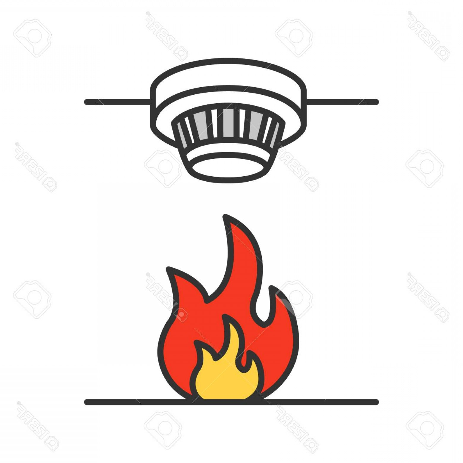 Fire Alarm Vector: Photostock Vector Smoke Detector Color Icon Fire Alarm System Isolated Vector Illustration