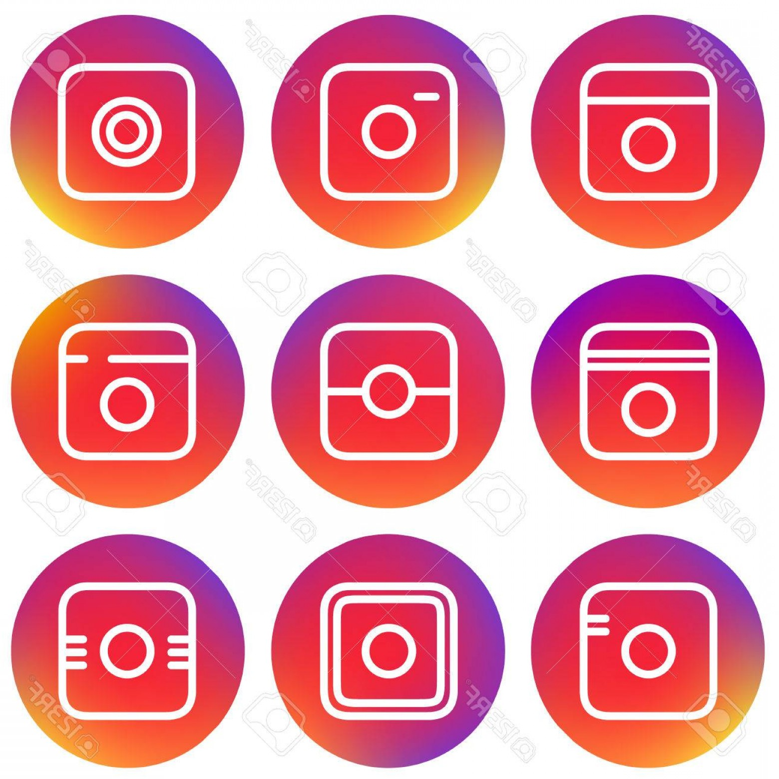 Instagram App Icon Vector: Photostock Vector Smooth Color Gradient Icon Template Set Inspried By Instagram Logo Vector Illustration For Your Soci