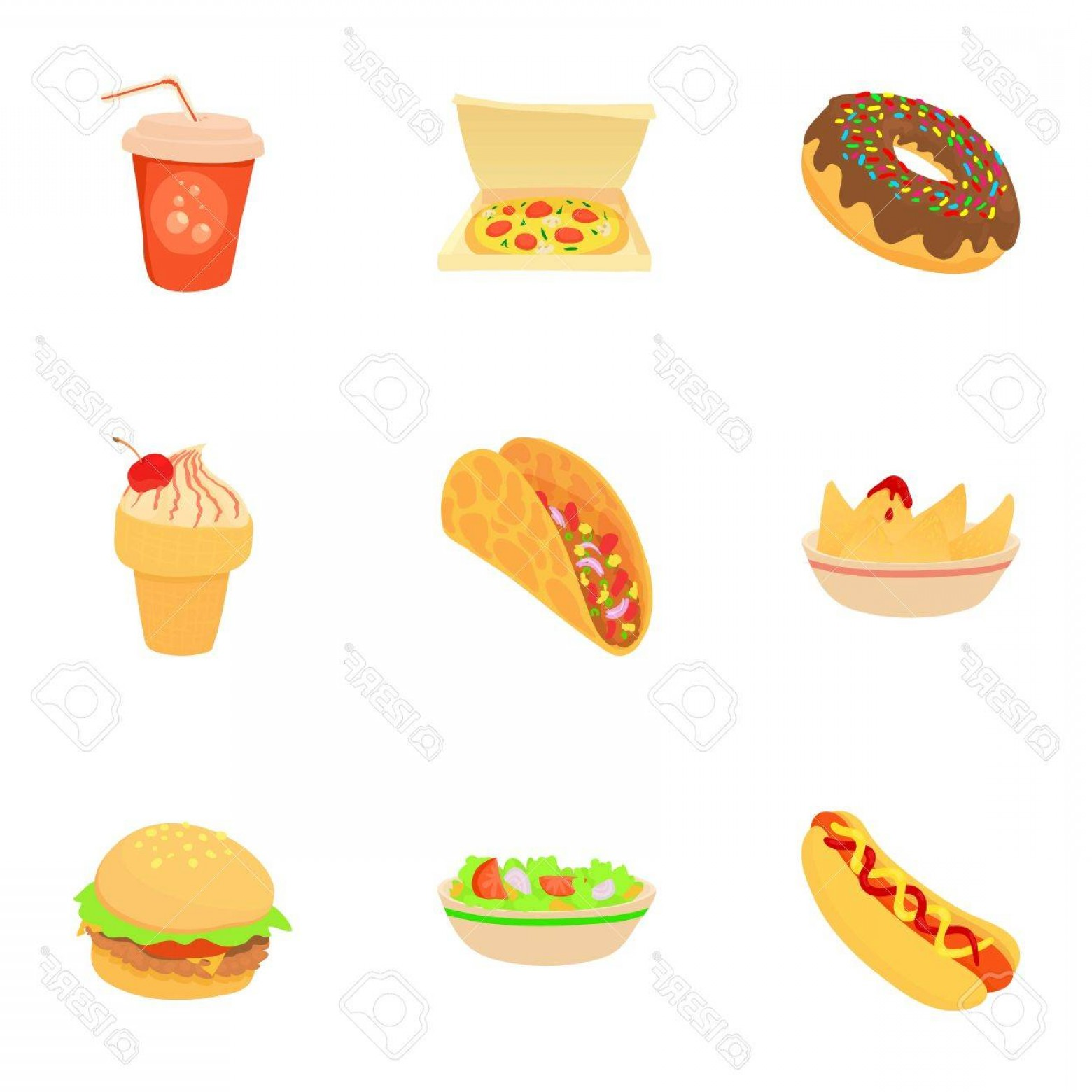 Snack Vector: Photostock Vector Snack Icons Set Cartoon Set Of Snack Vector Icons For Web Isolated On White Background