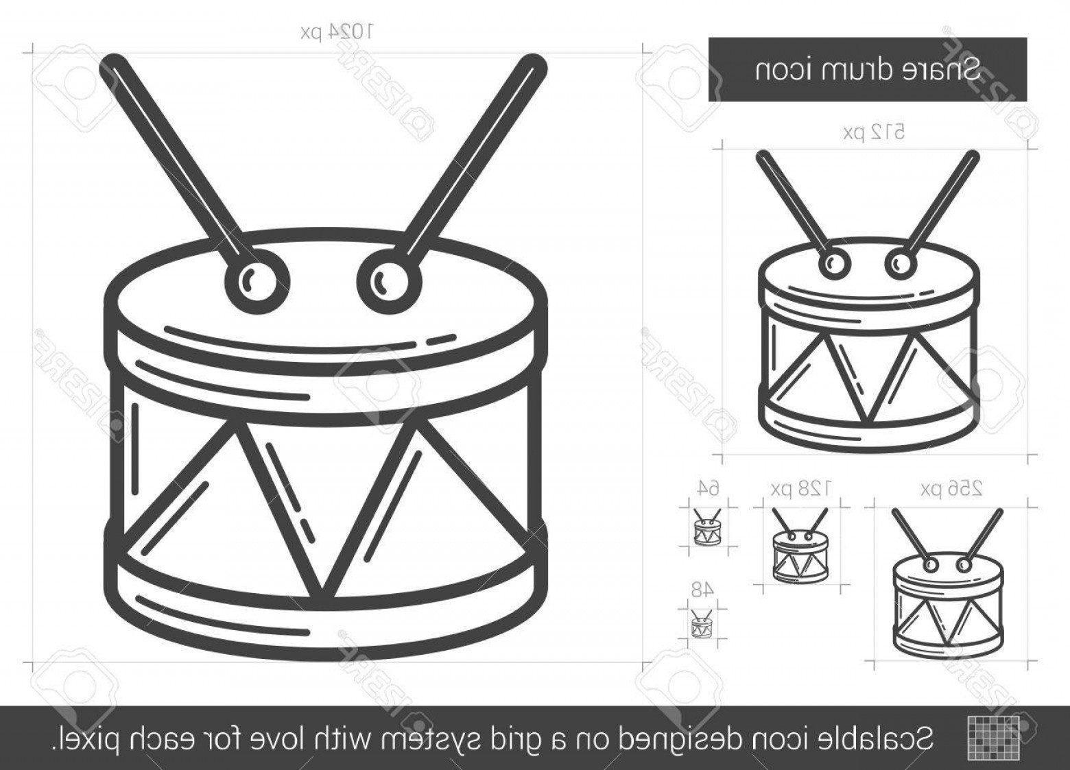 Drumline Vector Art: Photostock Vector Snare Drum Vector Line Icon Isolated On White Background Snare Drum Line Icon For Infographic Websit