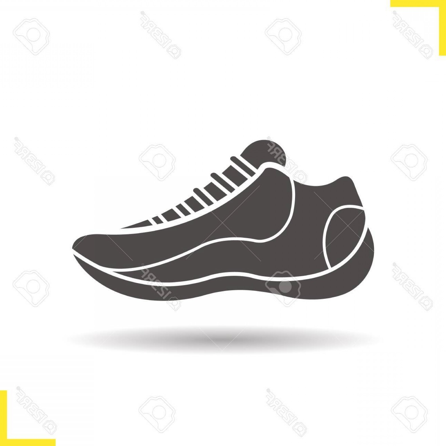 Sneaker Silhouette Vector: Photostock Vector Sneaker Icon Drop Shadow Running Shoe Silhouette Symbol Sport Footwear Vector Isolated Illustration