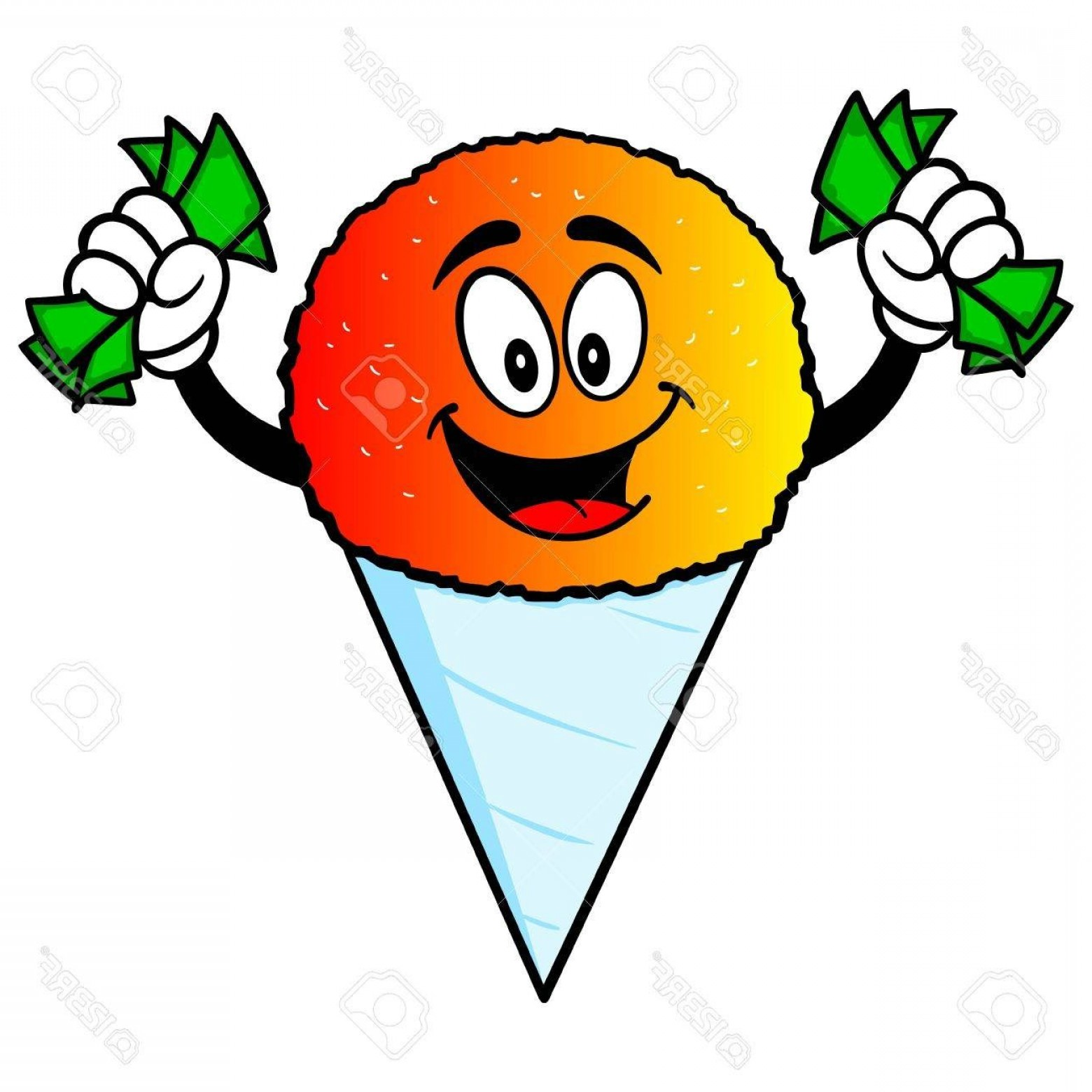 Snow Cone Vector Free: Photostock Vector Snow Cone With Money