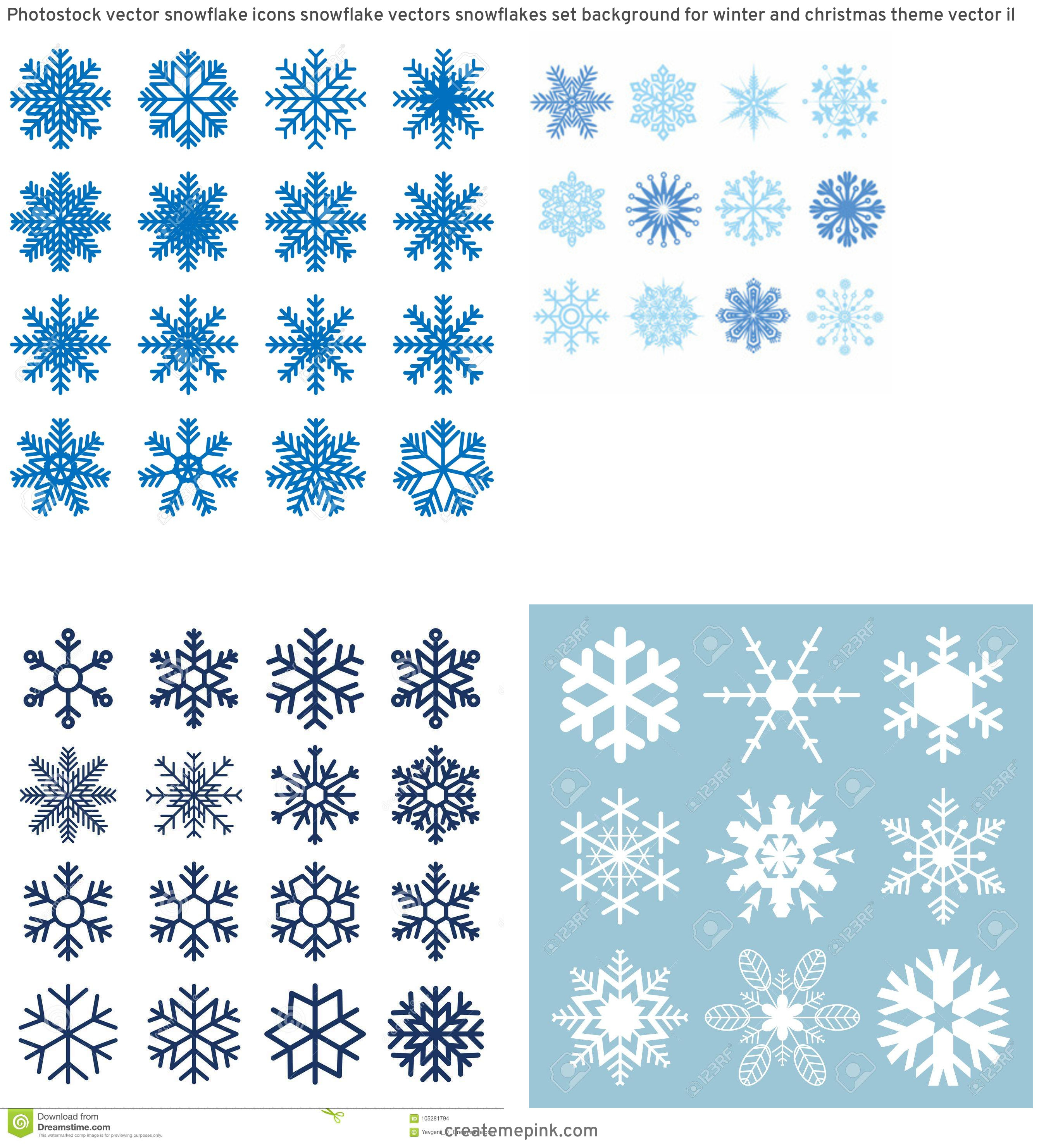 Free Vector Snow Flakes: Photostock Vector Snowflake Icons Snowflake Vectors Snowflakes Set Background For Winter And Christmas Theme Vector Il
