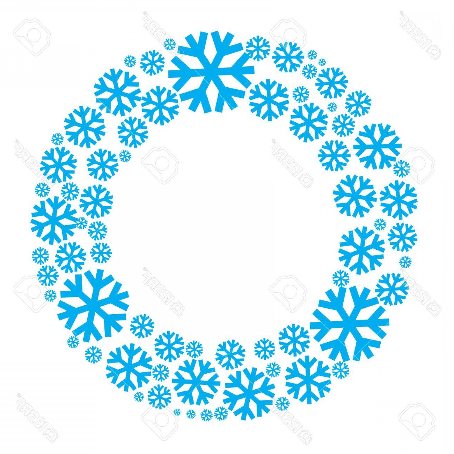 Vector Snowflake Wreath: Photostock Vector Snowflake Vector Wreath Isolated Snow Flake Circle Frame Round Winter Background