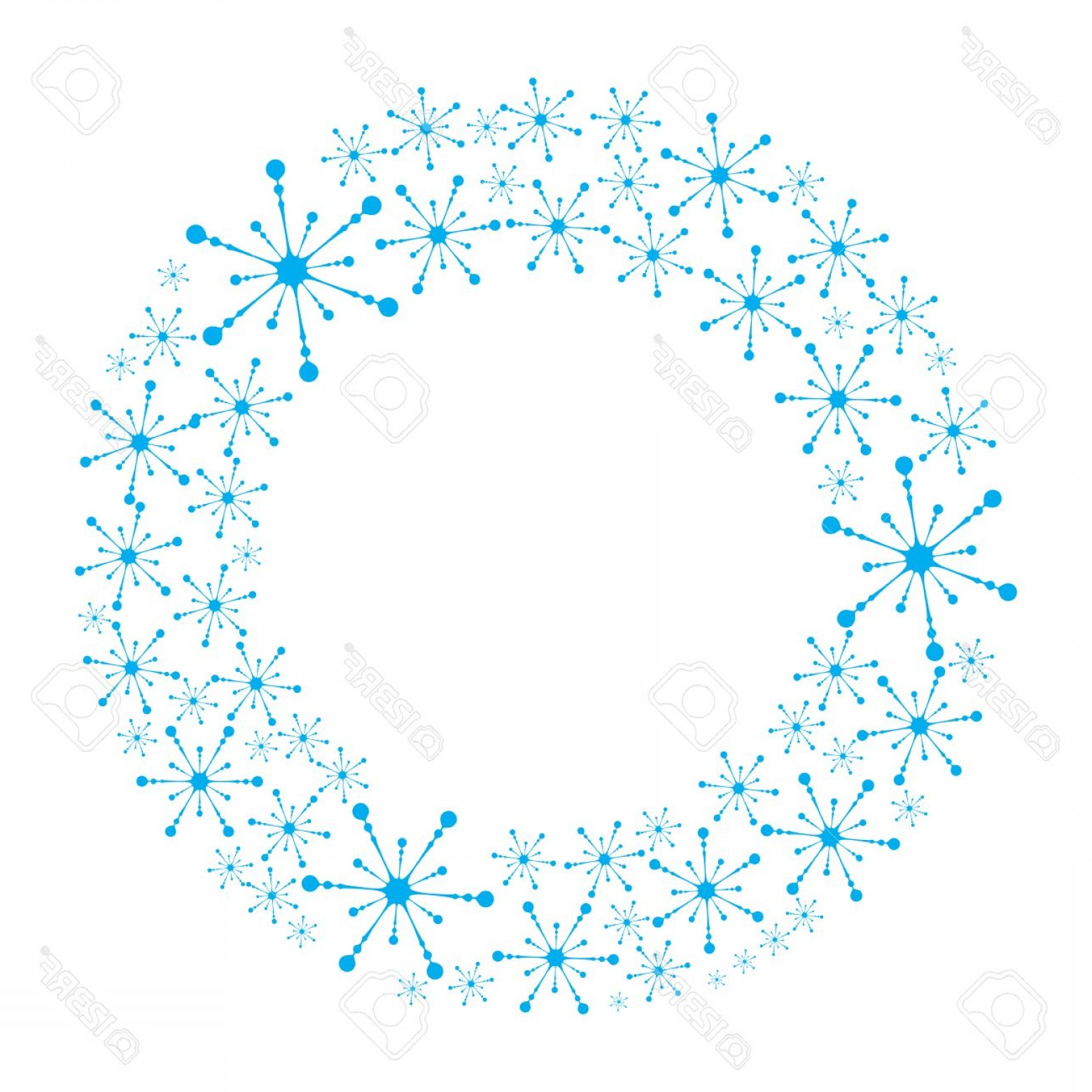 Vector Snowflake Wreath: Photostock Vector Snowflake Wreath Isolated Snow Flake Circle Frame Round Winter Background
