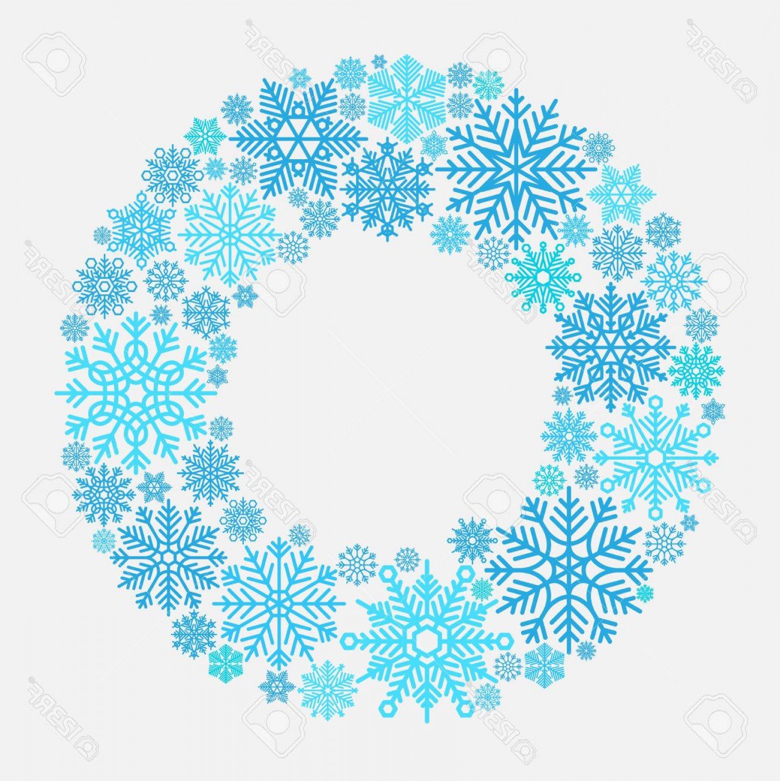 Vector Snowflake Wreath: Photostock Vector Snowflake Wreath Vector Snowflakes Frame Isolated On White For Xmas Door Invitation