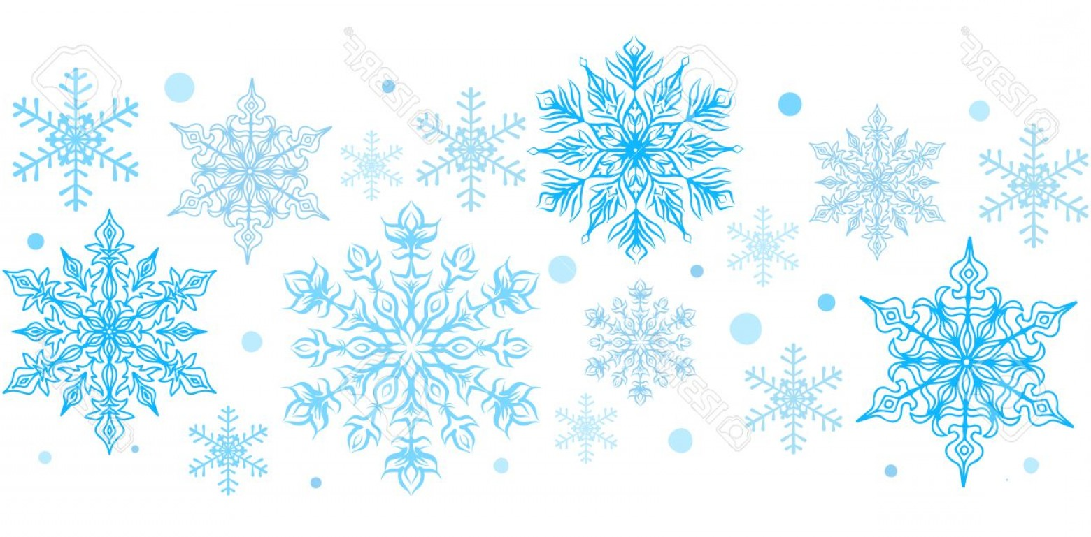 Snowflake Border Vector Art: Photostock Vector Snowflakes Decorative Element Horizontal Seamless Border Clip Art