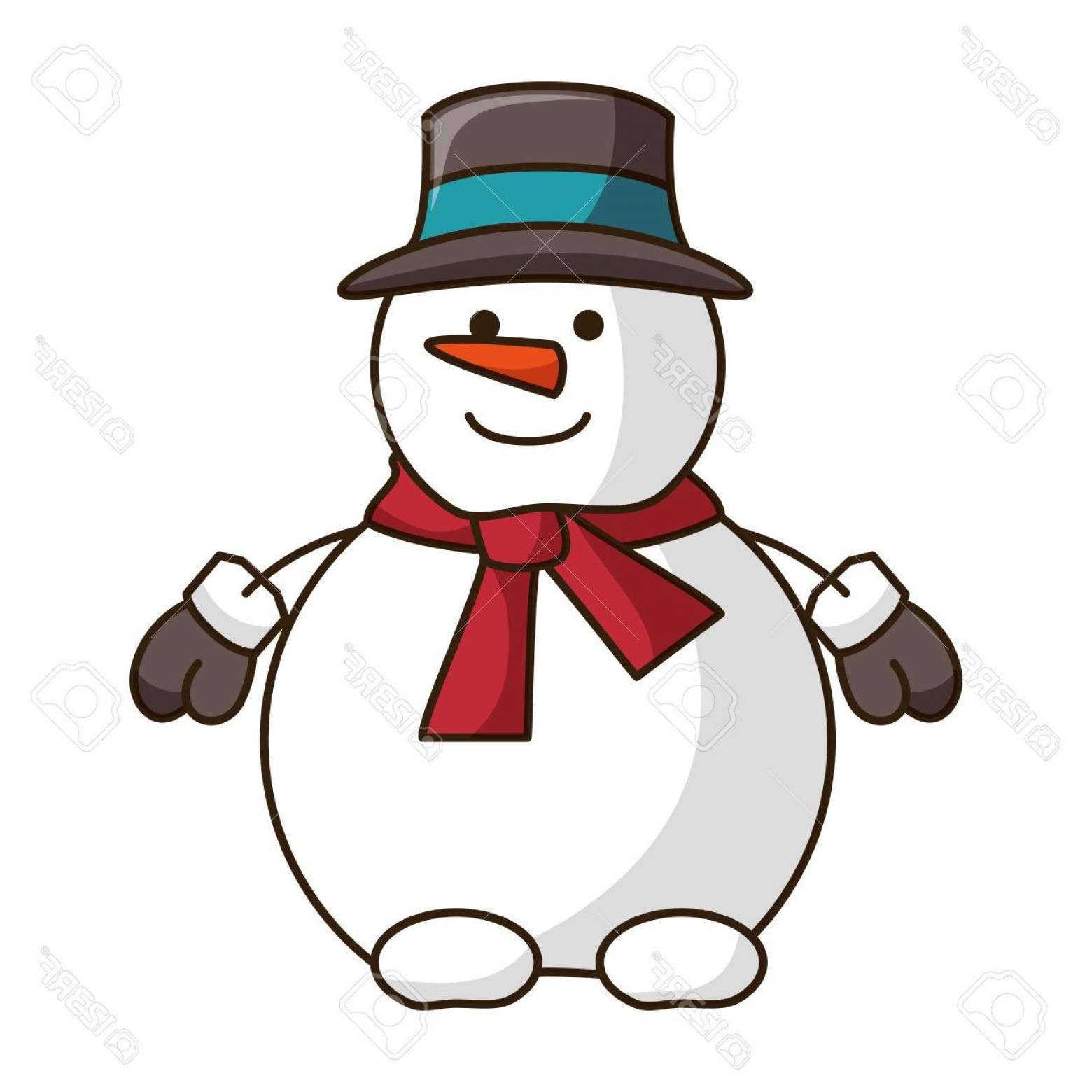No Hat With Snowman Vector: Photostock Vector Snowman Smiling Cartoon With Red Scarf And Black Hat Christmas Season Symbol Vector Illustration