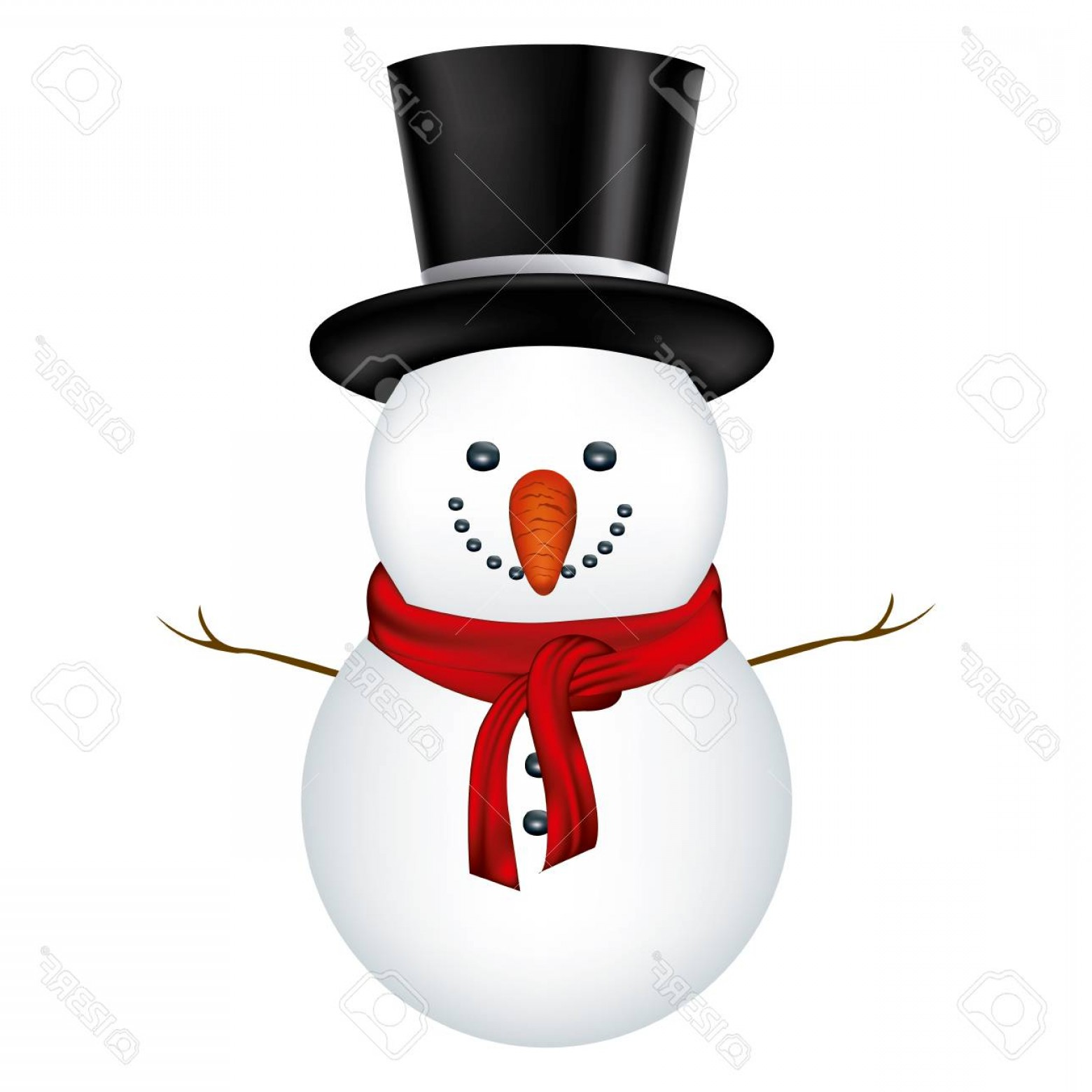 No Hat With Snowman Vector: Photostock Vector Snowman With Black Hat And Scarf In White Background Vector Illustration