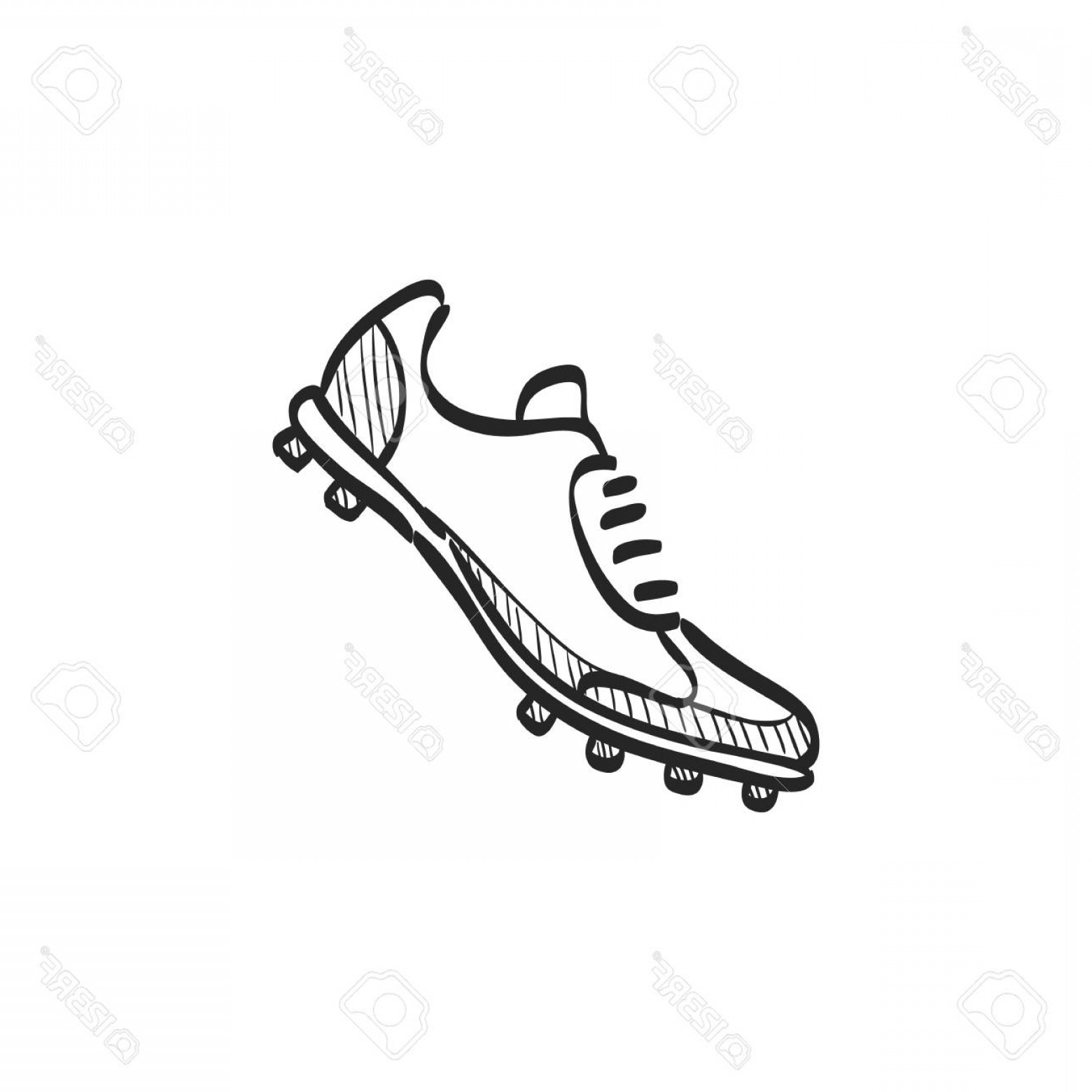 Vector Football Laces And Lines: Photostock Vector Soccer Shoe Icon In Doodle Sketch Lines Sport Football Foot Protection