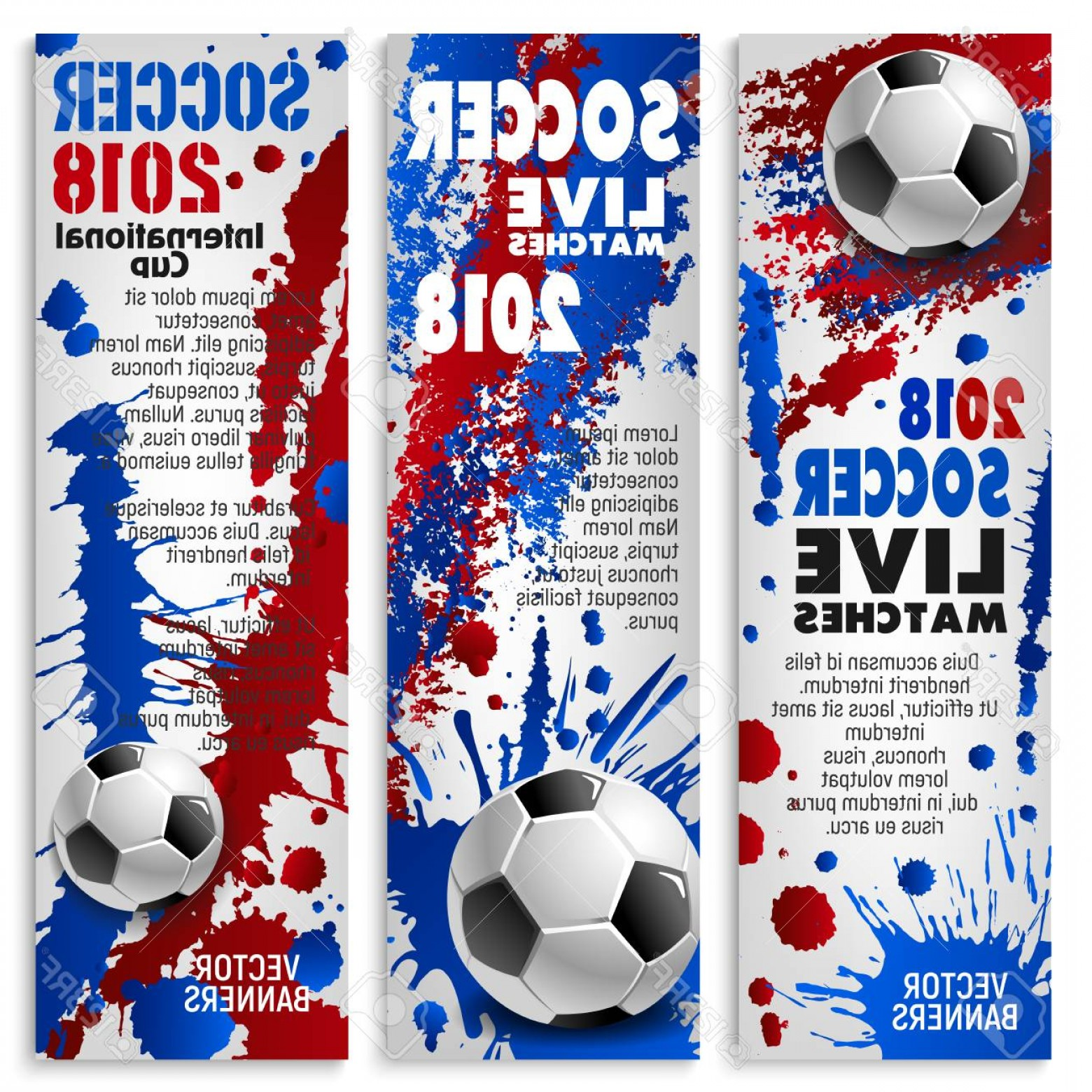 Vector Sport Spot: Photostock Vector Soccer Sport Match Banner Set For Football Championship Tournament Soccer Ball Sporting Competition