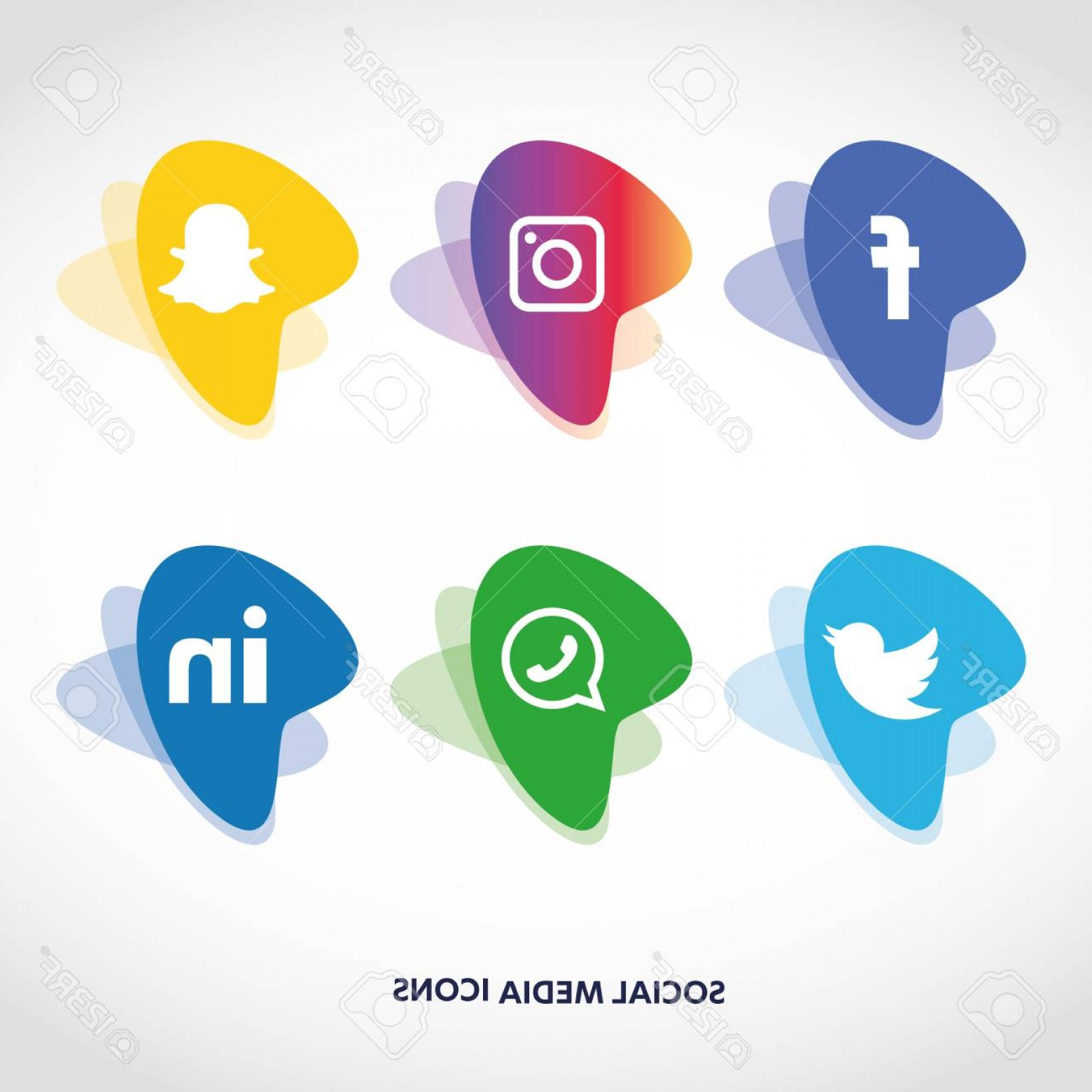 Free Vectors Social Media Facebook: Photostock Vector Social Media Icons Set Facebook Instagram Whatsapp