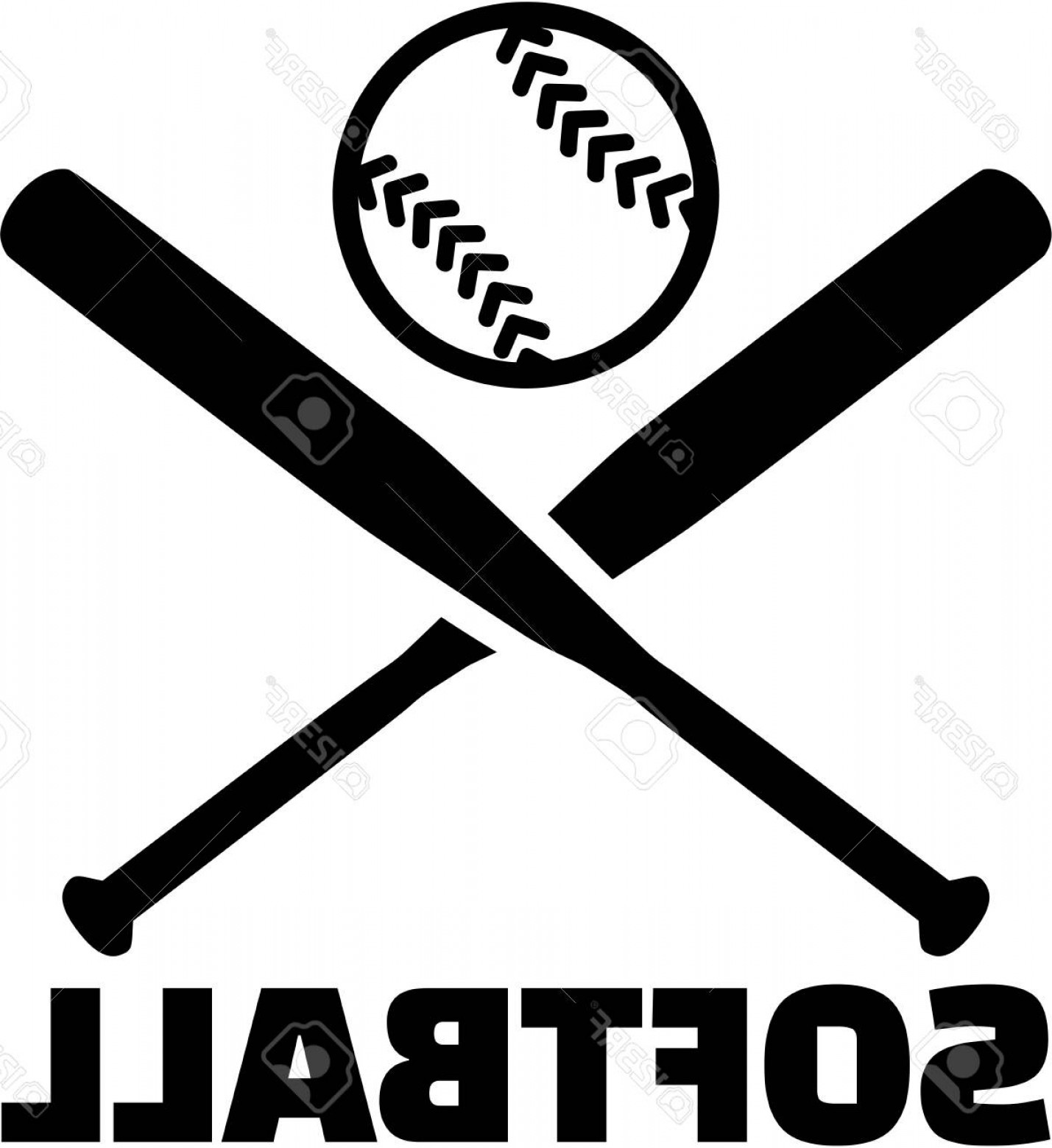 Vector Baseball Cross: Photostock Vector Softball With Crossed Bats And Ball