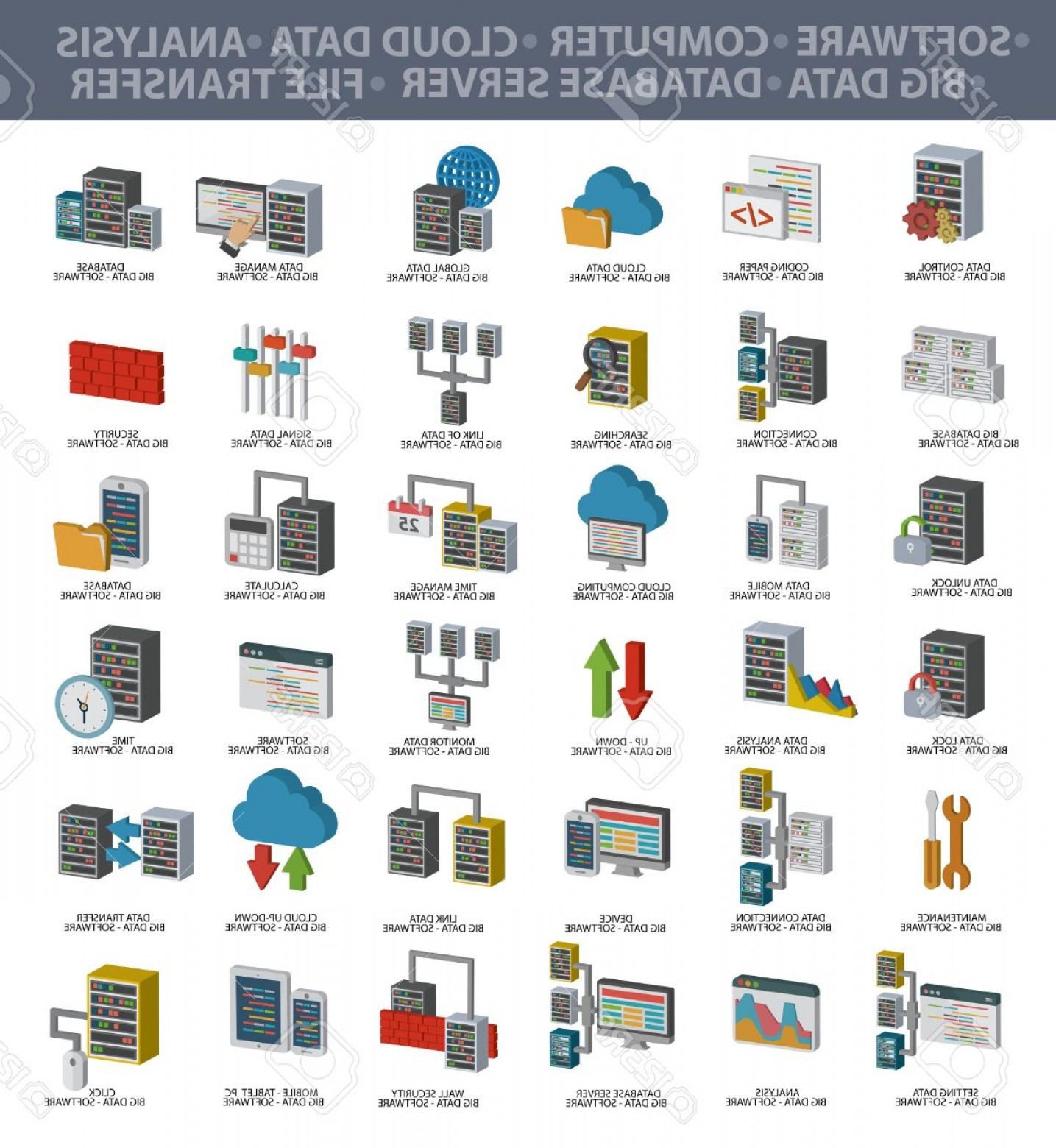 Free Vector File Software: Photostock Vector Software Big Data Computer Cloud Computing Analysis Database Server File Transfer Data Security And