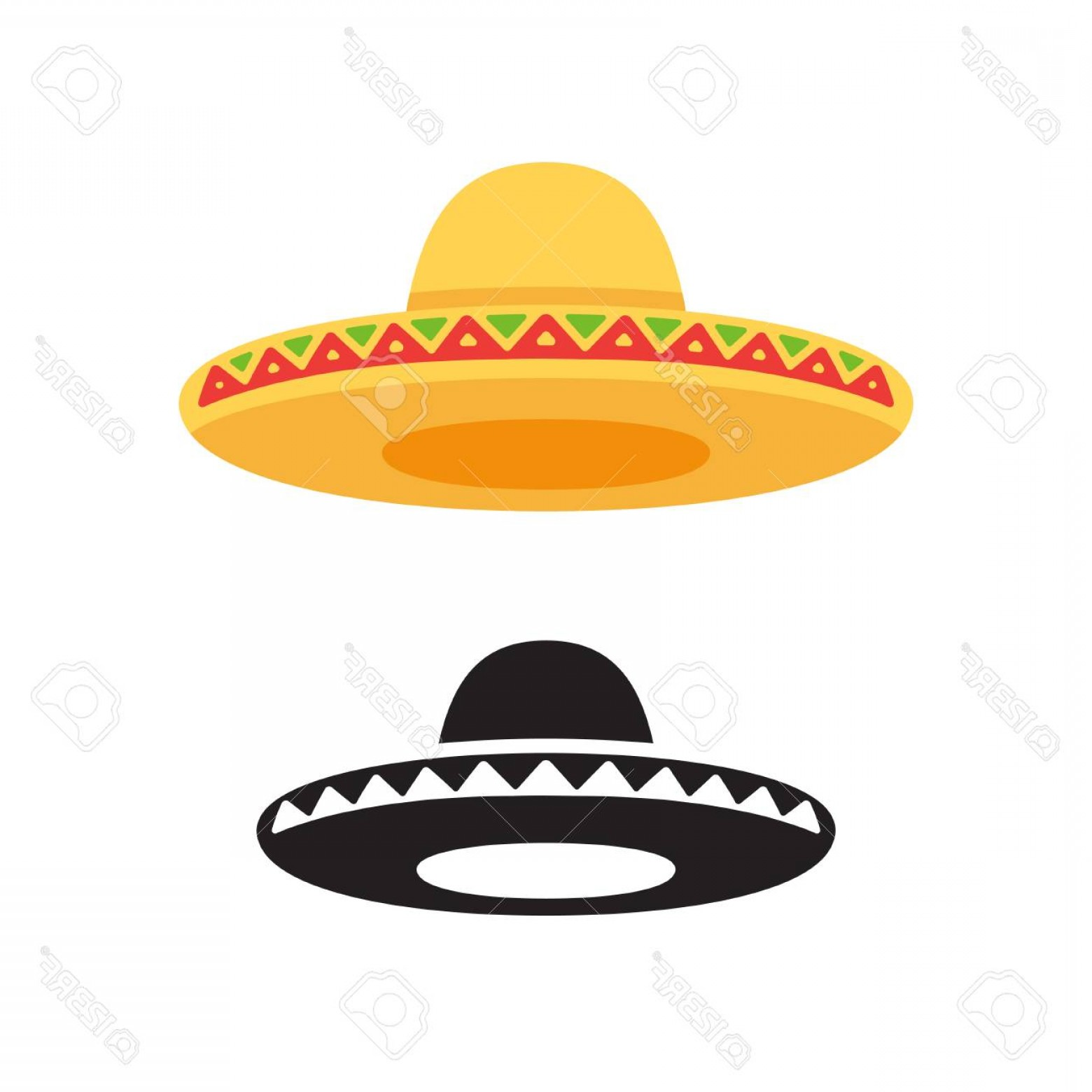 Sombrero Hat Vector: Photostock Vector Sombrero Mexican Hat Vector Icon Or Logo In Color And Black And White Flat Vector Style Illustration