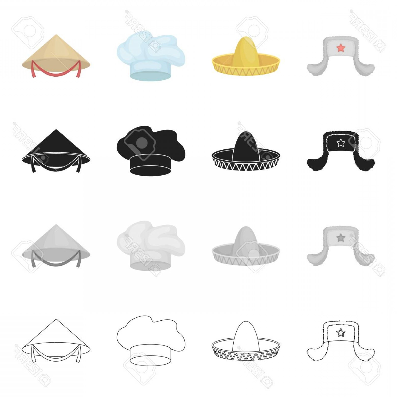 Sombrero Vector Outline: Photostock Vector Sombrero The Cap Of A Cook A Chinese Cone A Fur Hat Hats Set Collection Icons In Cartoon Black Monoc