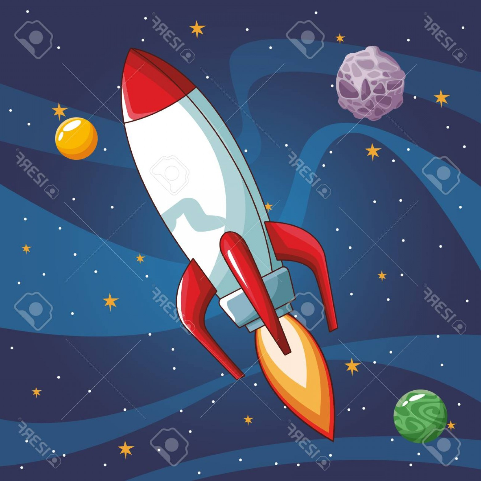 Space Vector Graphics: Photostock Vector Spaceship Flying In The Space Vector Illustration Graphic Design