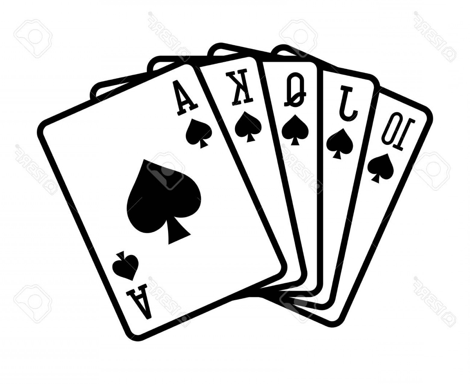 Poker Hand Vector: Photostock Vector Spade Royal Straight Flush Poker Hand Flat Vector Icon For Casino Apps And Websites