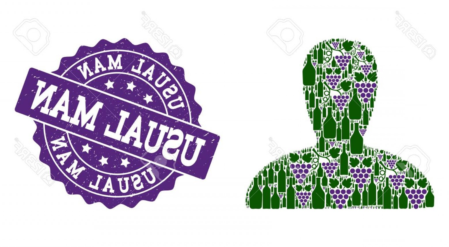 Spawn Vector: Photostock Vector Spawn Persona Collage Of Alcohol Bottles And Grape And Grunge Stamp Seal Isolated Vectors In Green A