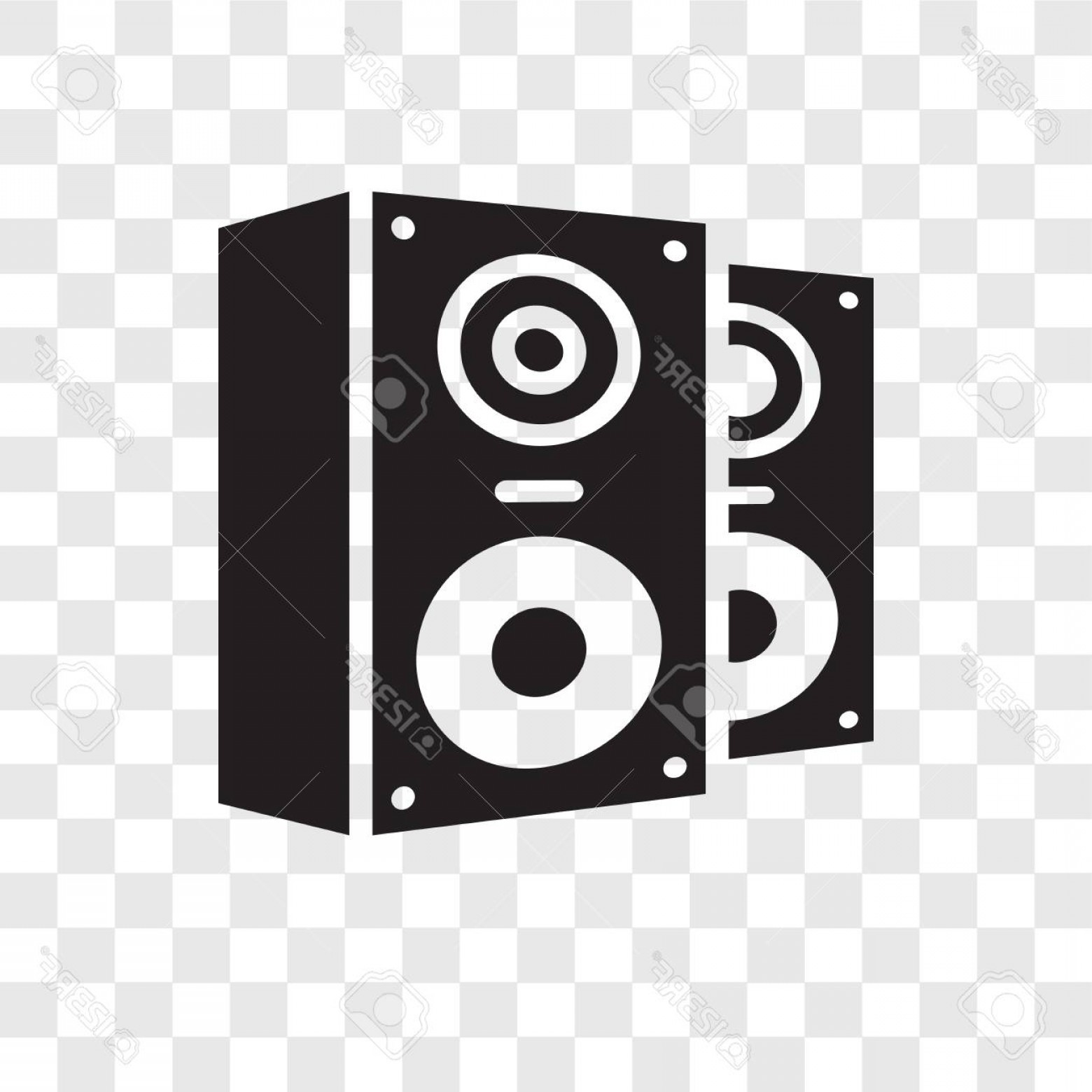 Speakers Vector Black: Photostock Vector Speakers Vector Icon Isolated On Transparent Background Speakers Transparency Logo Concept