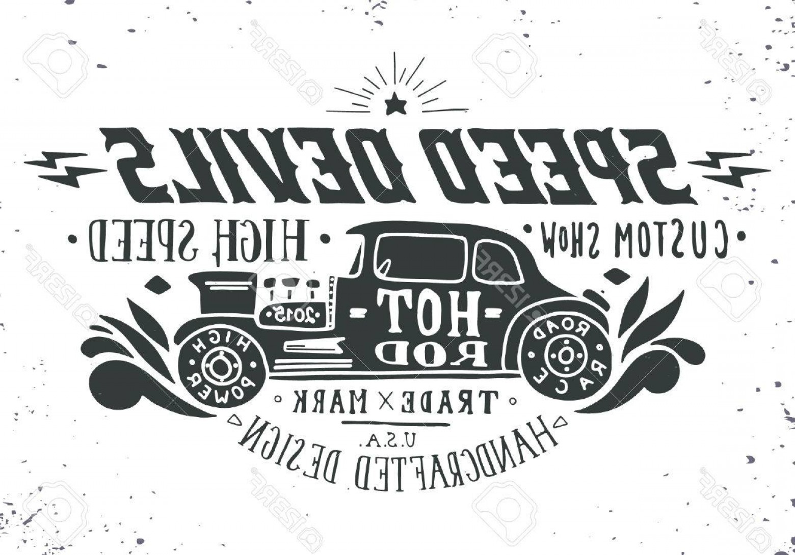 Car Show Vector Shirt: Photostock Vector Speed Devils Hand Drawn Grunge Vintage Illustration With Hand Lettering And A Old Timer Car This Ill