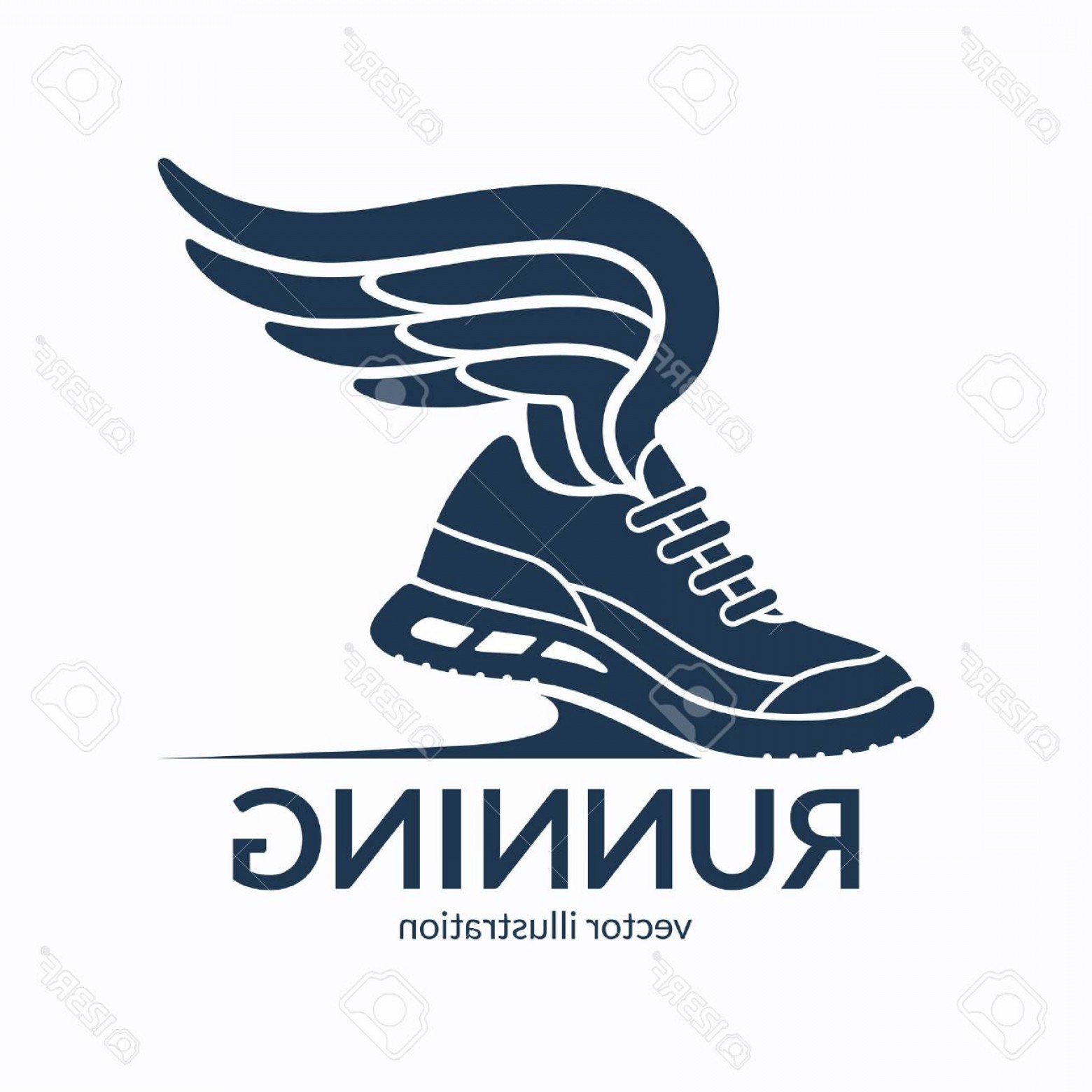 Sneaker Silhouette Vector: Photostock Vector Speeding Running Shoe Symbol Icon Logo Sneaker Silhouette With Wings Vector Illustration