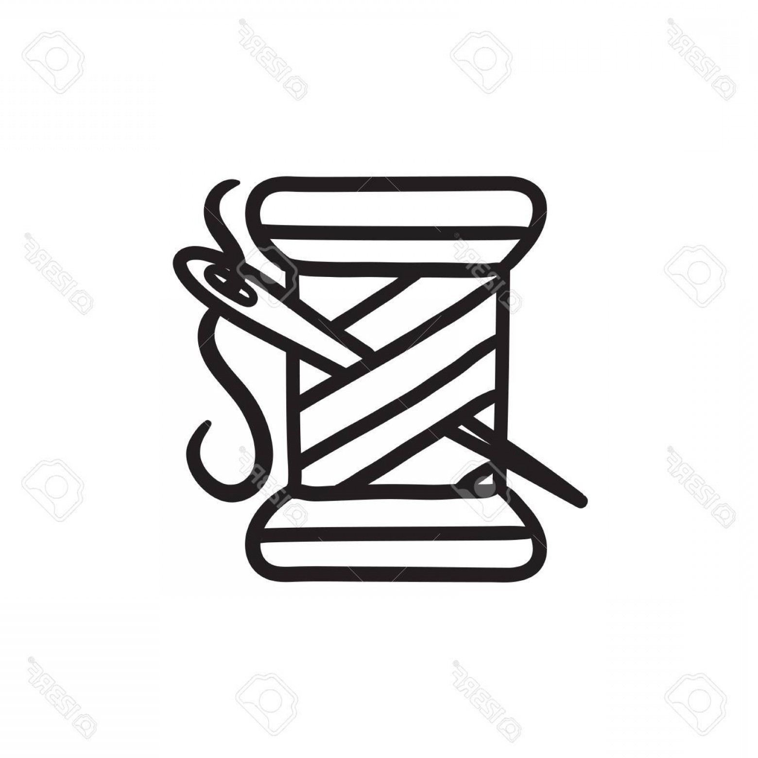 Sewing Spool Vector: Photostock Vector Spool Of Thread And Needle Vector Sketch Icon Isolated On Background Hand Drawn Spool Of Thread And
