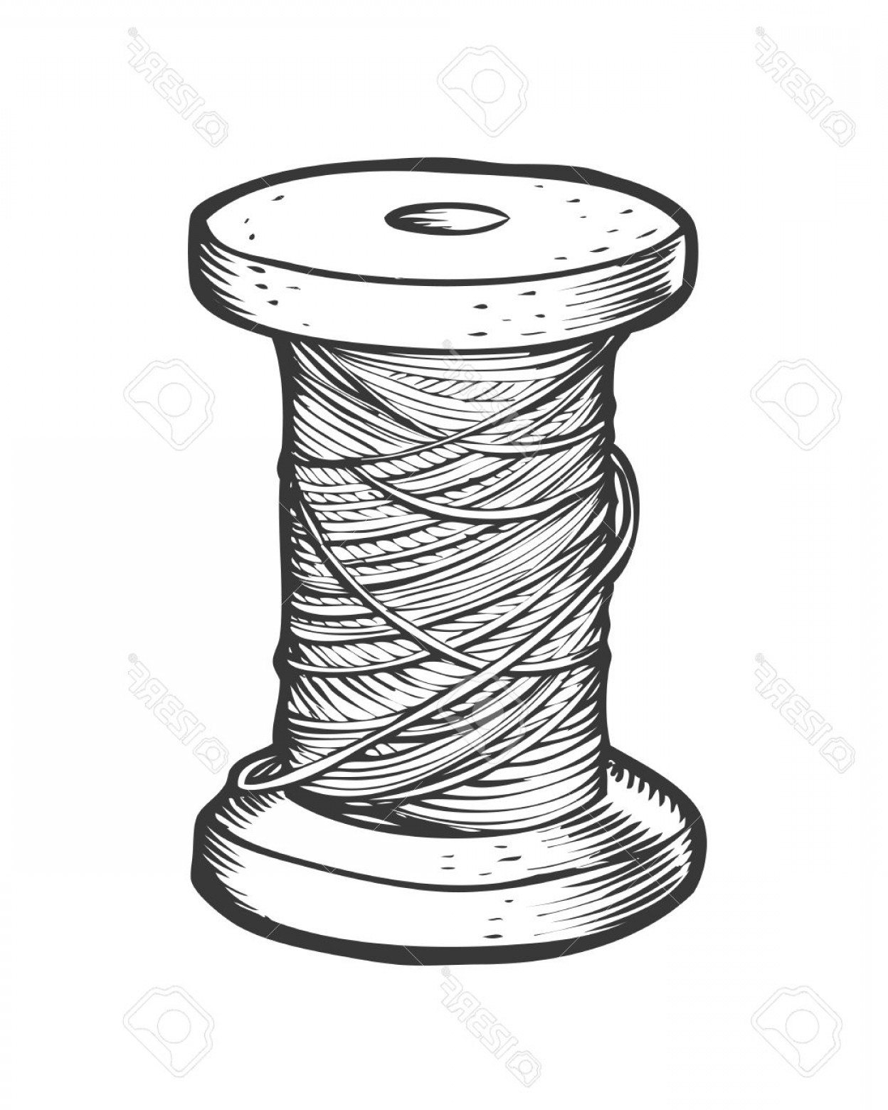 Sewing Spool Vector: Photostock Vector Spool Of Thread Vector Isolated Illustration Hand Drawn Doodle Sketch Sewing Tool