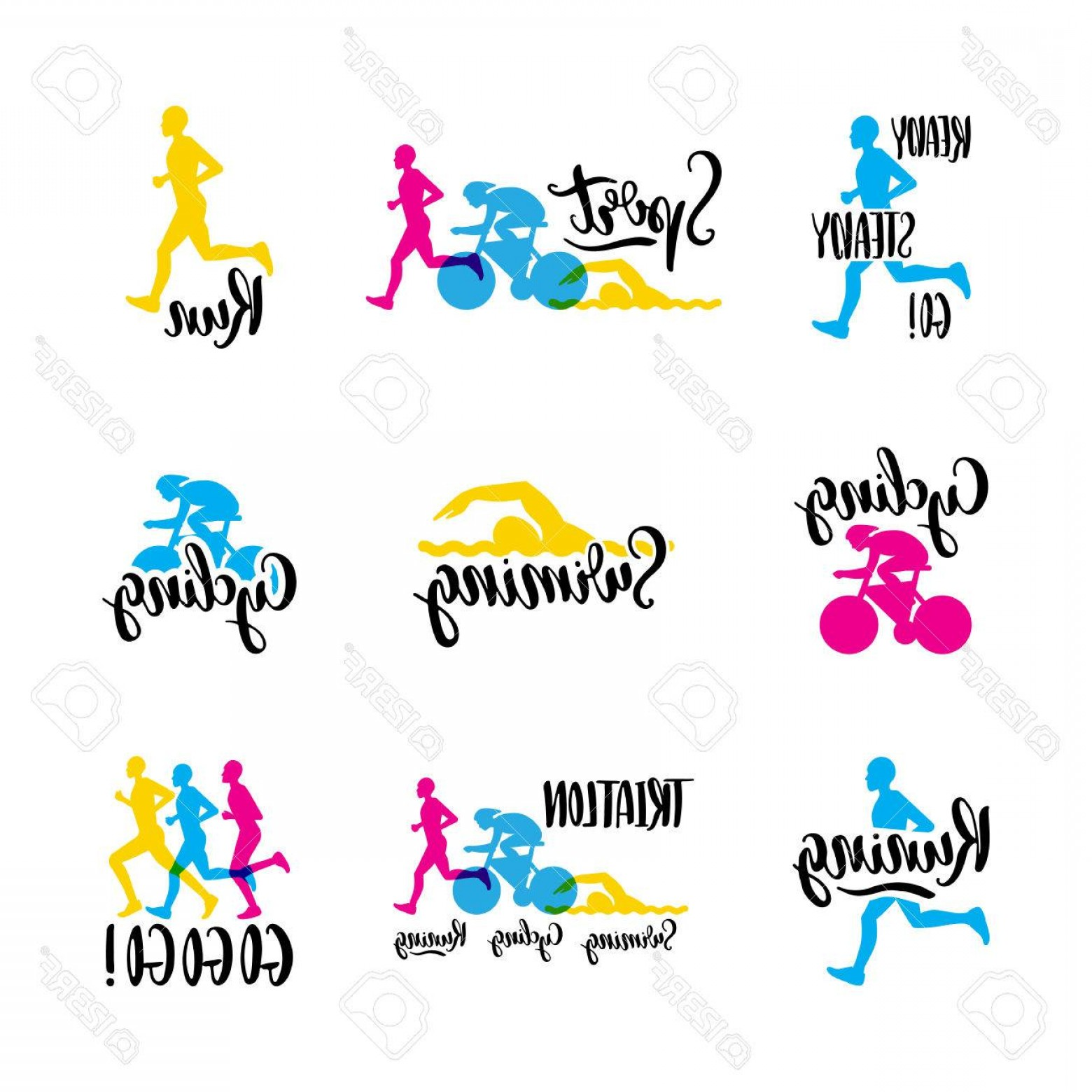 Sports Logos Vector Art: Photostock Vector Sports Logo With Colored Letters Hand Written On The Topic Of Cycling Swimming Running Triathlon