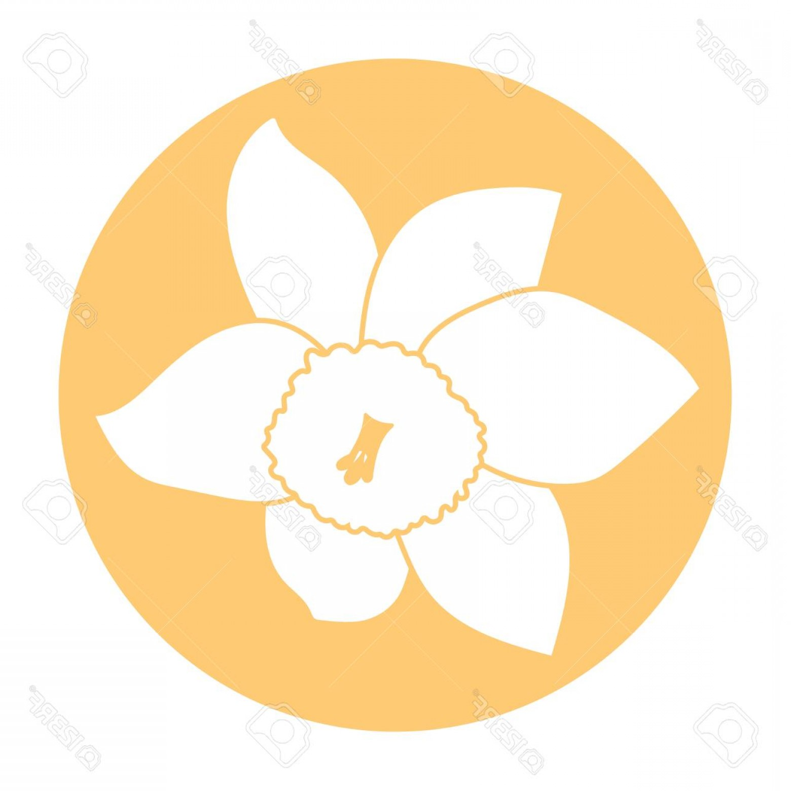 Icon Of Flower Vectors: Photostock Vector Spring Flower Icon White Narcissus Flower Orange Round Circle Flat Icon Vector