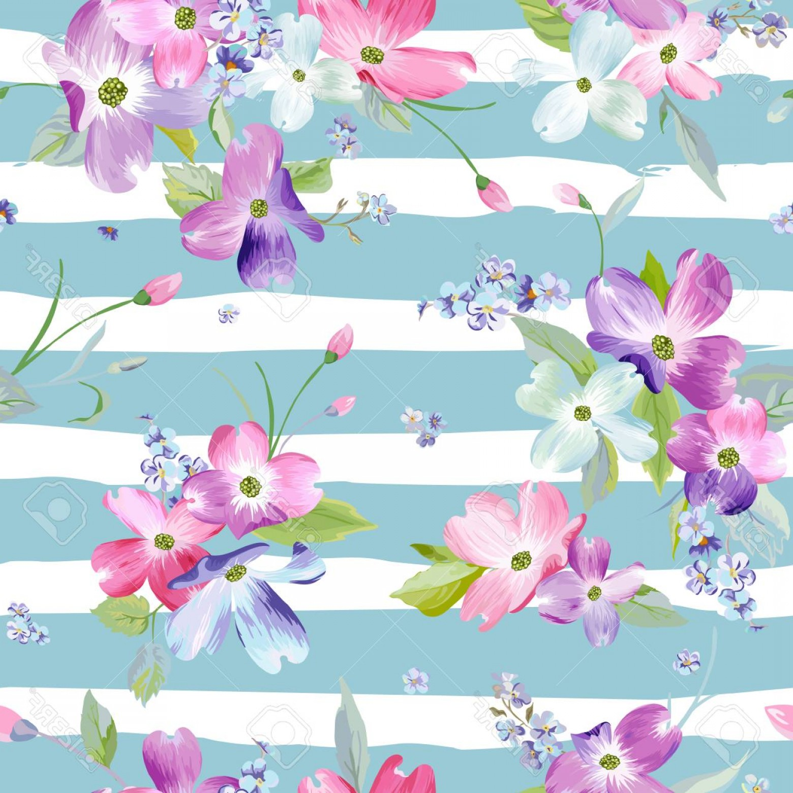 Photostock Vector Spring Flowers Seamless Pattern Watercolor