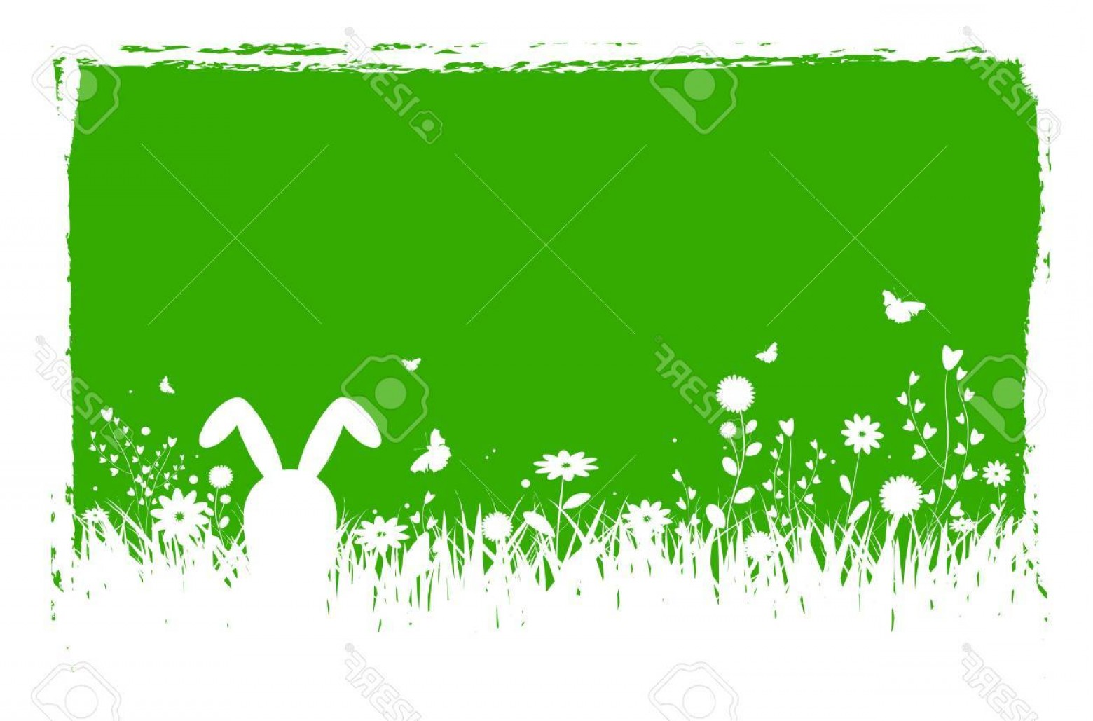 Spring Vector Silhouette: Photostock Vector Spring Silhouette Easter Background With Abstract Grass Flowers Bunny Butterflies And Grungy Border