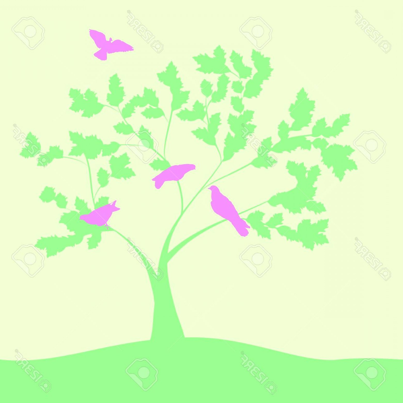 Spring Vector Silhouette: Photostock Vector Spring Vector Illustration With Doves On Tree Silhouette