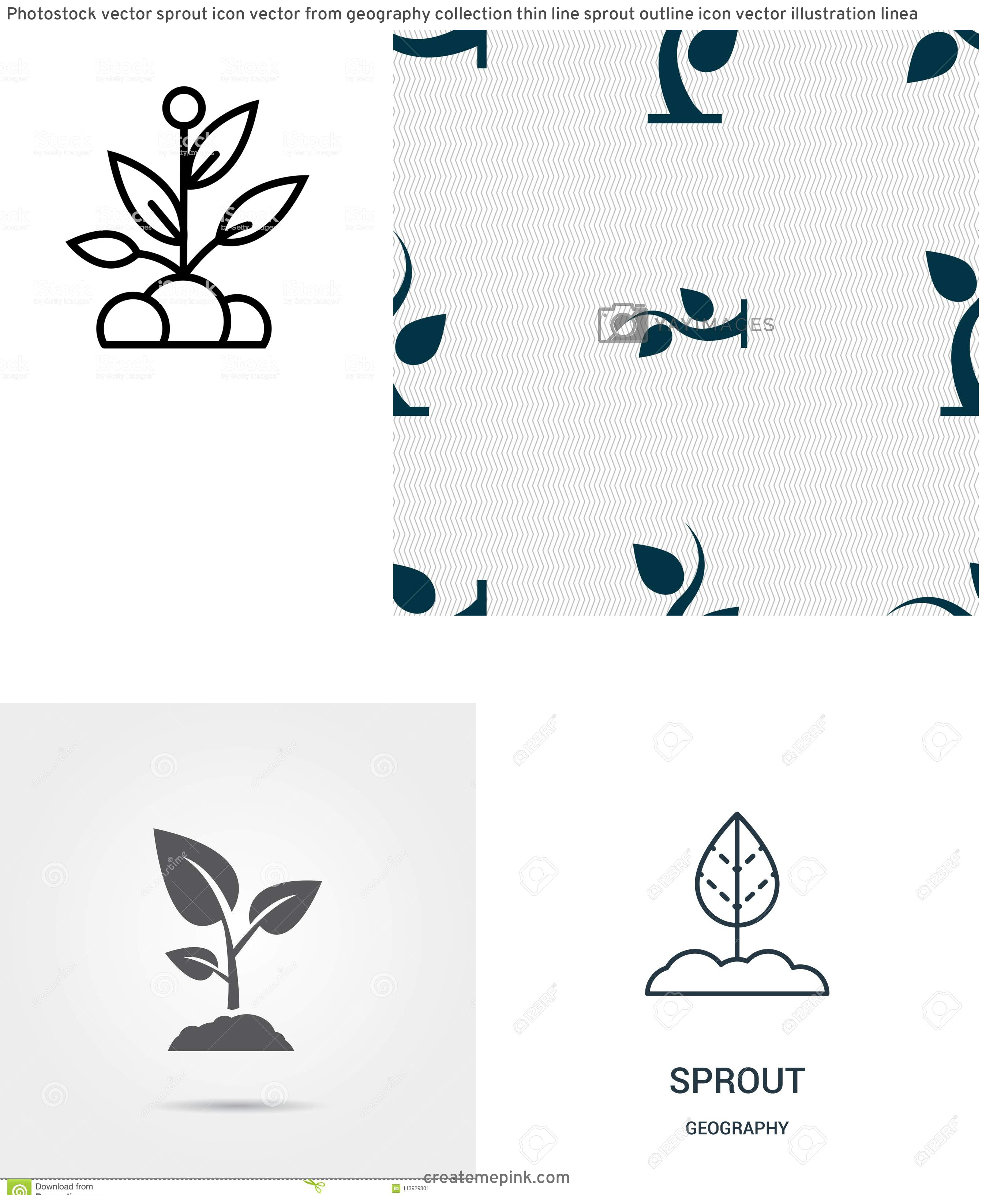 Sprout Icon Vector: Photostock Vector Sprout Icon Vector From Geography Collection Thin Line Sprout Outline Icon Vector Illustration Linea