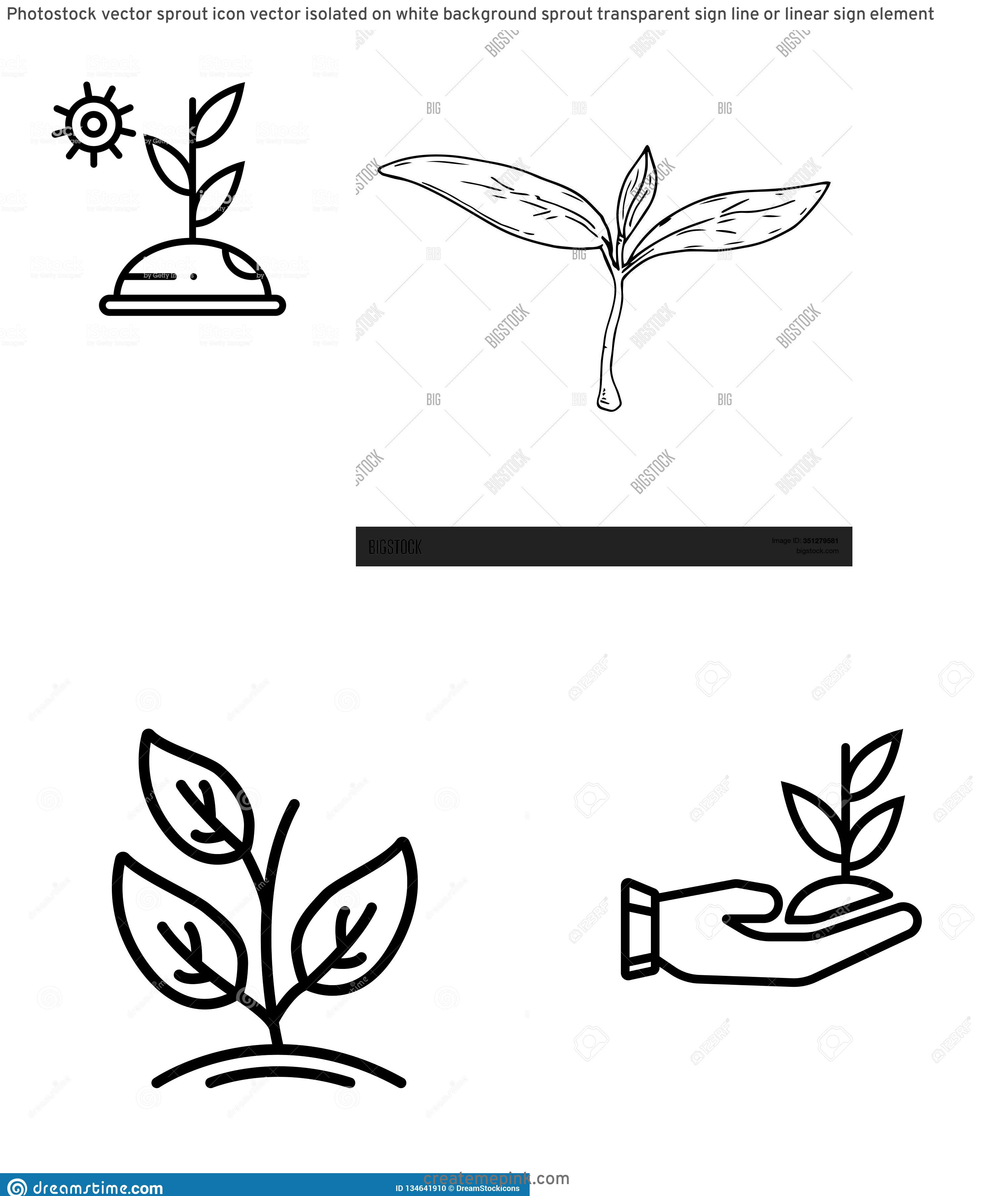 Sprout Icon Vector: Photostock Vector Sprout Icon Vector Isolated On White Background Sprout Transparent Sign Line Or Linear Sign Element