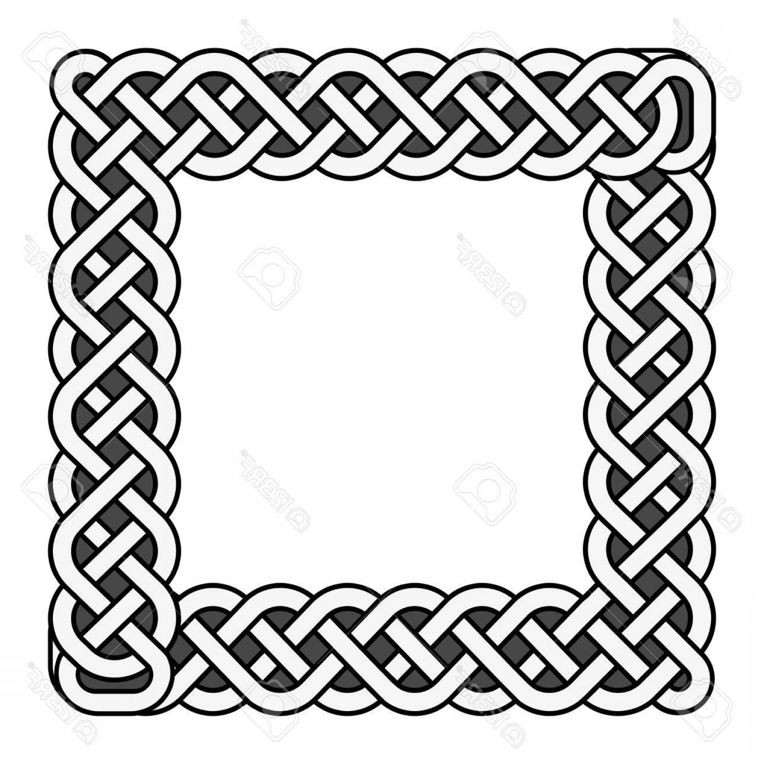 Medieval Frames Vector: Photostock Vector Square Celtic Knots Vector Medieval Frame In Black And White Traditional Ethnic Irish Knot Border Il
