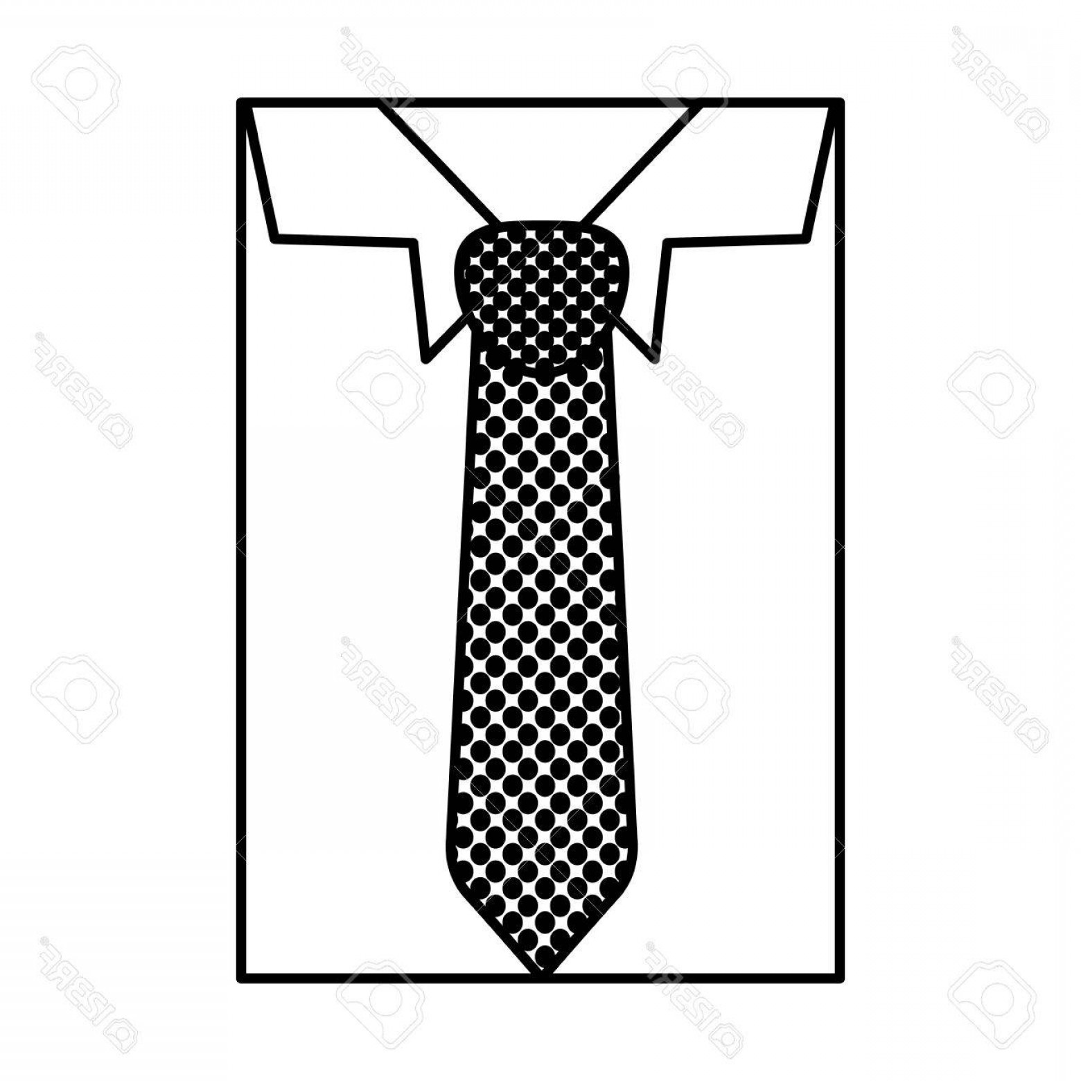 Vector Pocket Silhouette Shirt: Photostock Vector Square Silhouette Close Up Formal Shirt With Dotted Necktie Vector Illustration