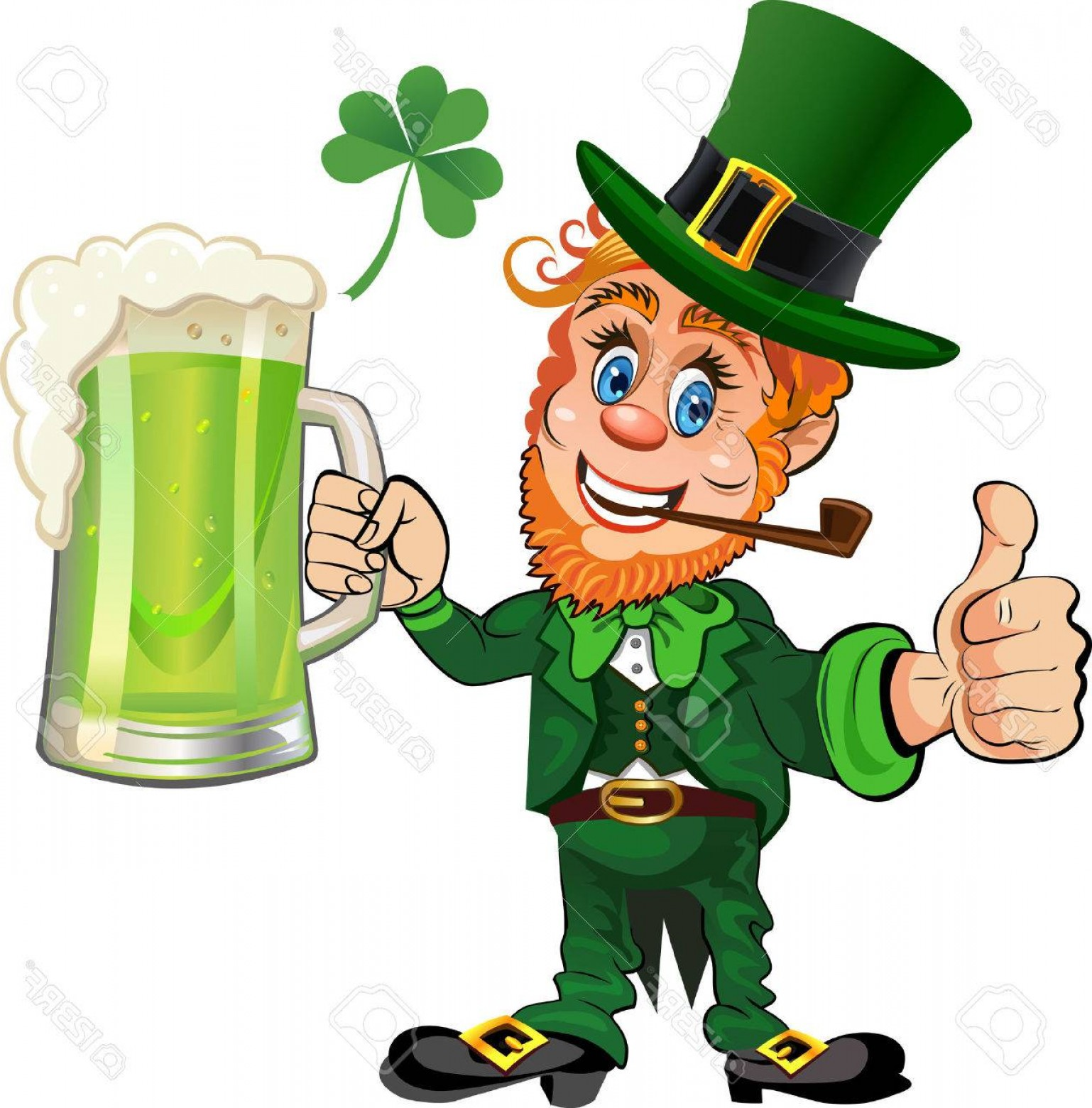 Patrick Vector Spaces: Photostock Vector St Patrick S Day Cheerful Leprechaun With Mug Of Green Beer