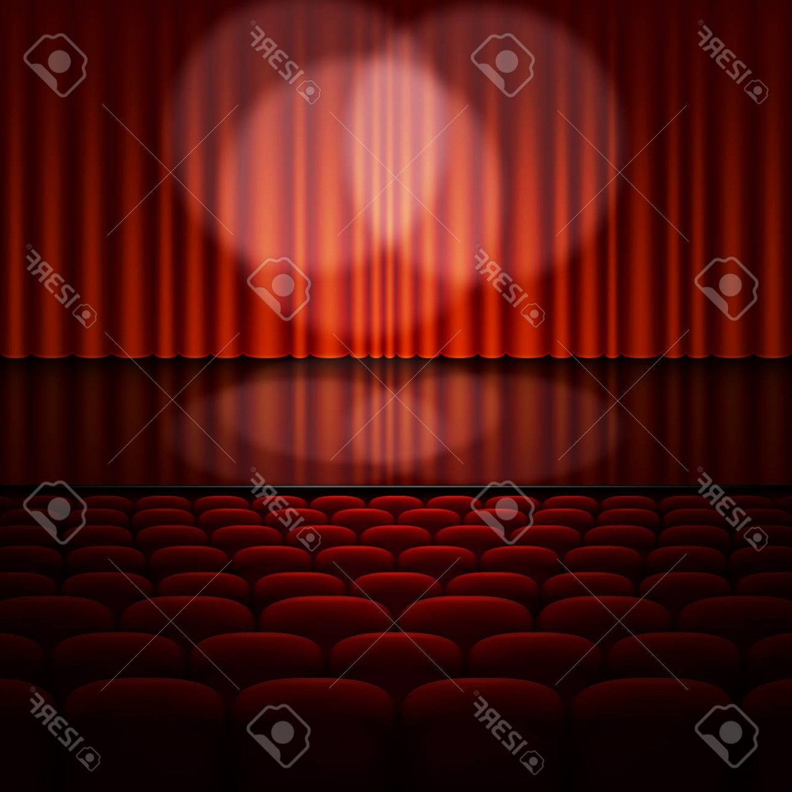 Stage Curtain Vector: Photostock Vector Stage With Red Curtain Vector Illustration
