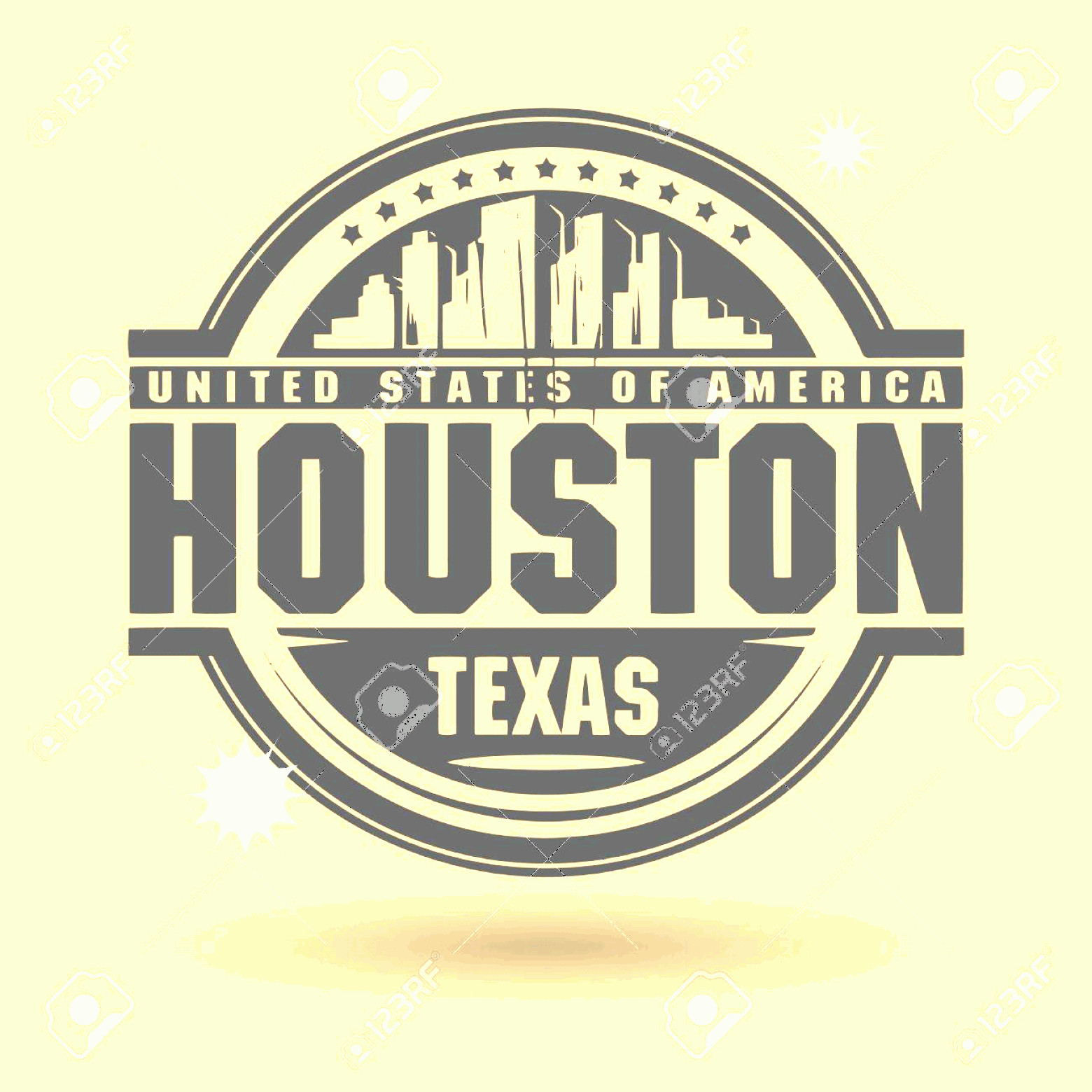 Vector Houston TX: Photostock Vector Stamp Or Label With Text Houston Texas Inside