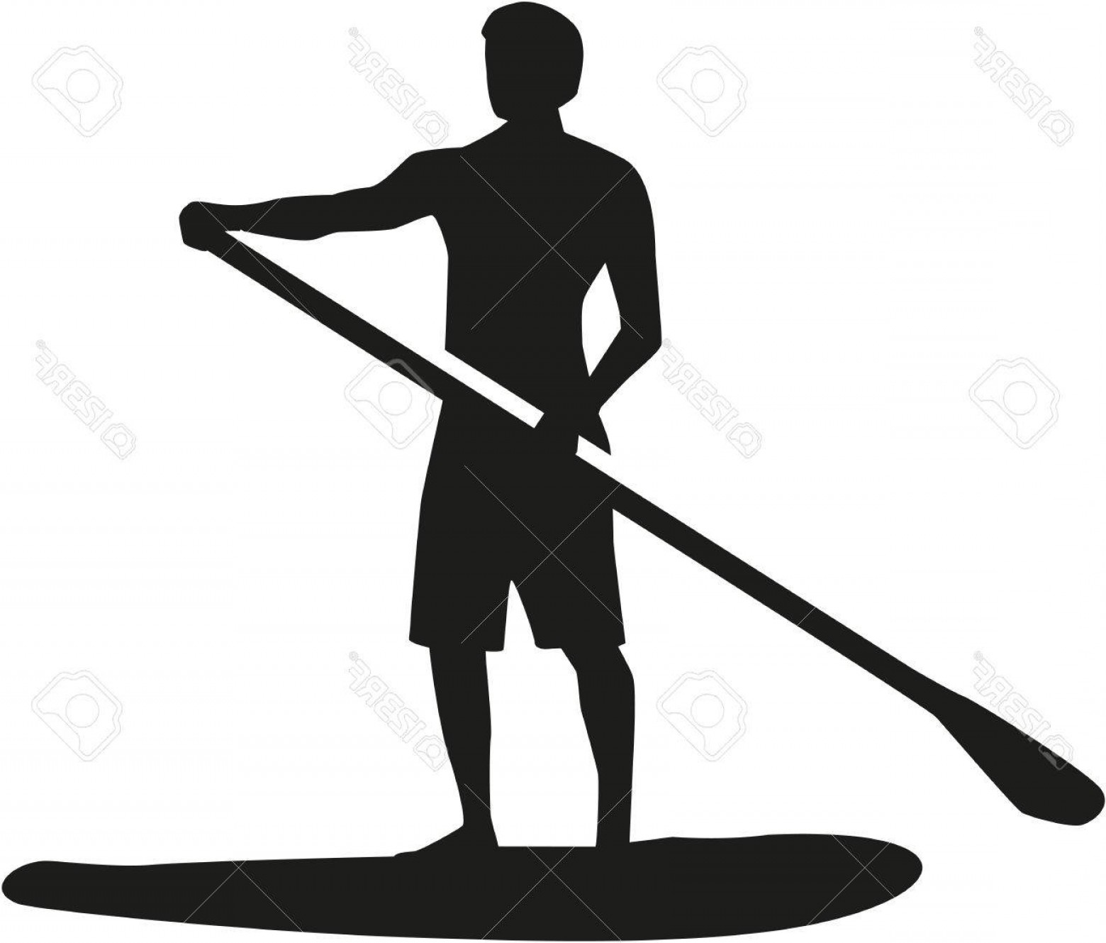 Paddle Vector Art: Photostock Vector Stand Up Paddling Silhouette