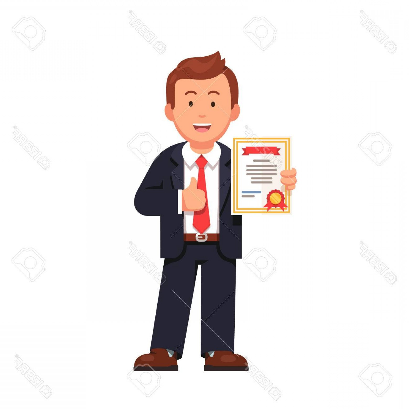Standing Diploma Vector: Photostock Vector Standing Business Man Holding Certificate Or Diploma And Showing Thumbs Up Gesture Flat Style Vector
