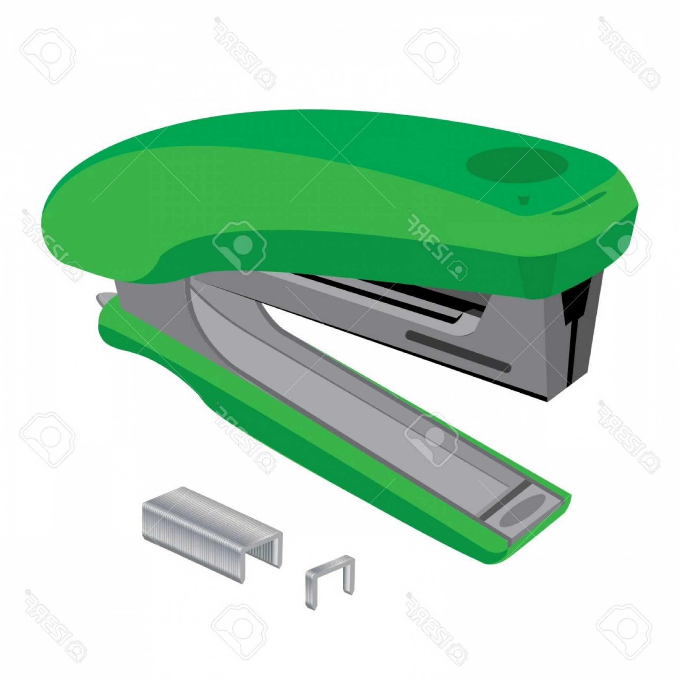 White Staples Vector Logo: Photostock Vector Stapler And Staples Green Stapler And Staples Isolated On White Background
