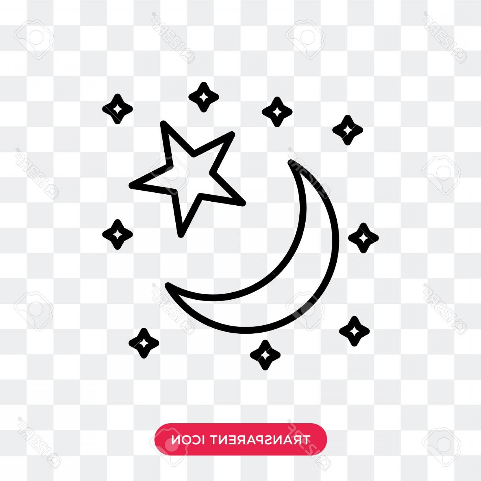 Star And Crescent Moon Vector: Photostock Vector Star And Crescent Moon Vector Icon Isolated On Transparent Background Star And Crescent Moon Logo Co